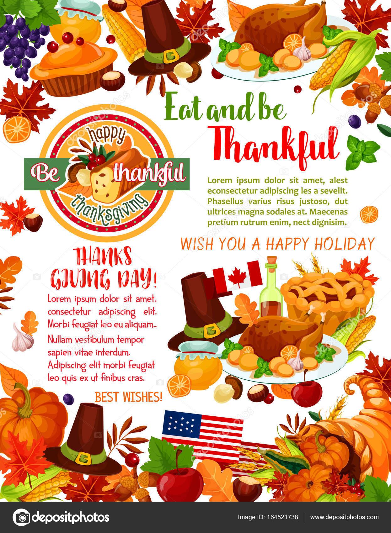 Plantilla de Thanksgiving Day holiday saludo bandera — Archivo ...
