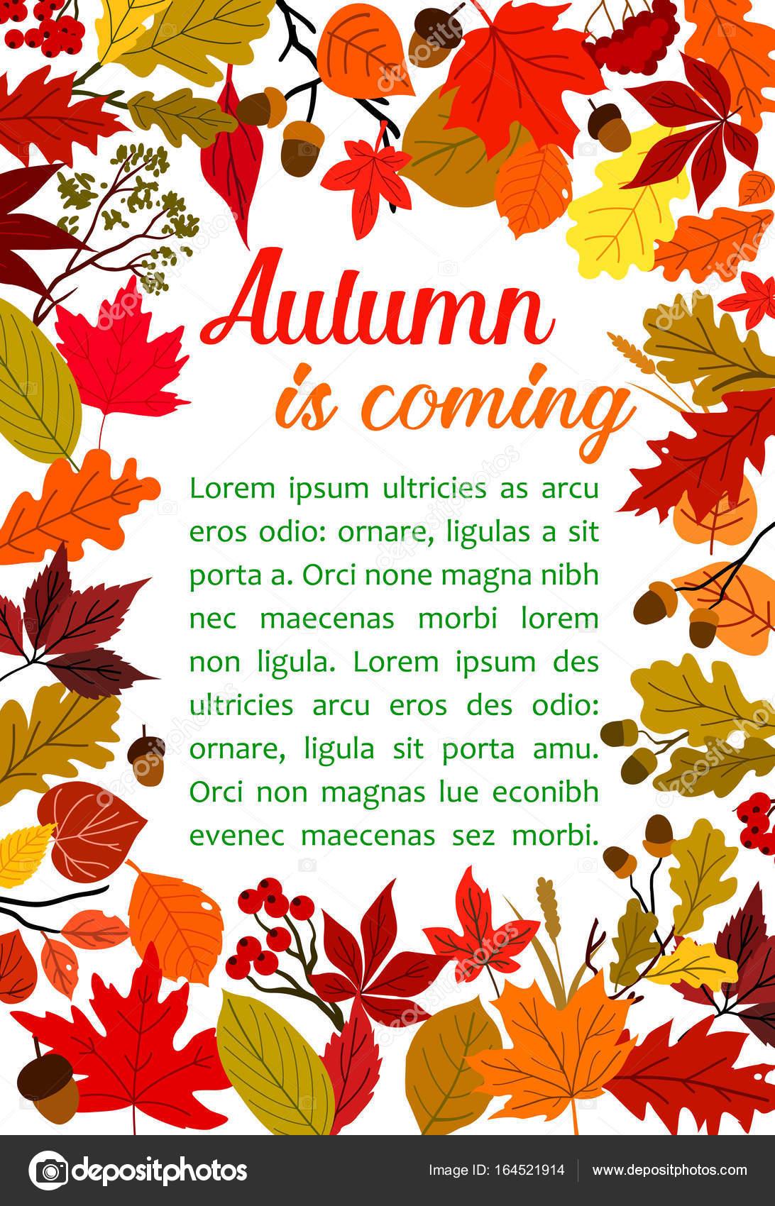 Herbst Blatt Poster mit Herbst Natur Rahmen — Stockvektor ...
