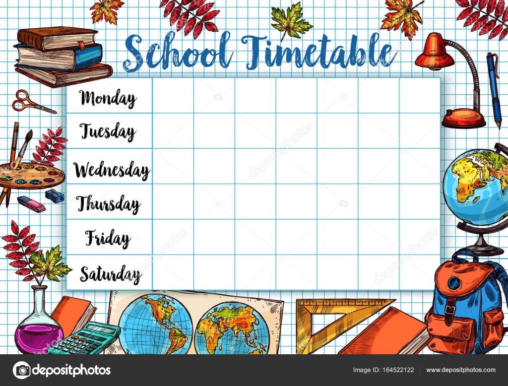 Zurück zur Schule skizzieren Sie Vektor Zeitplan Zeitplan ...