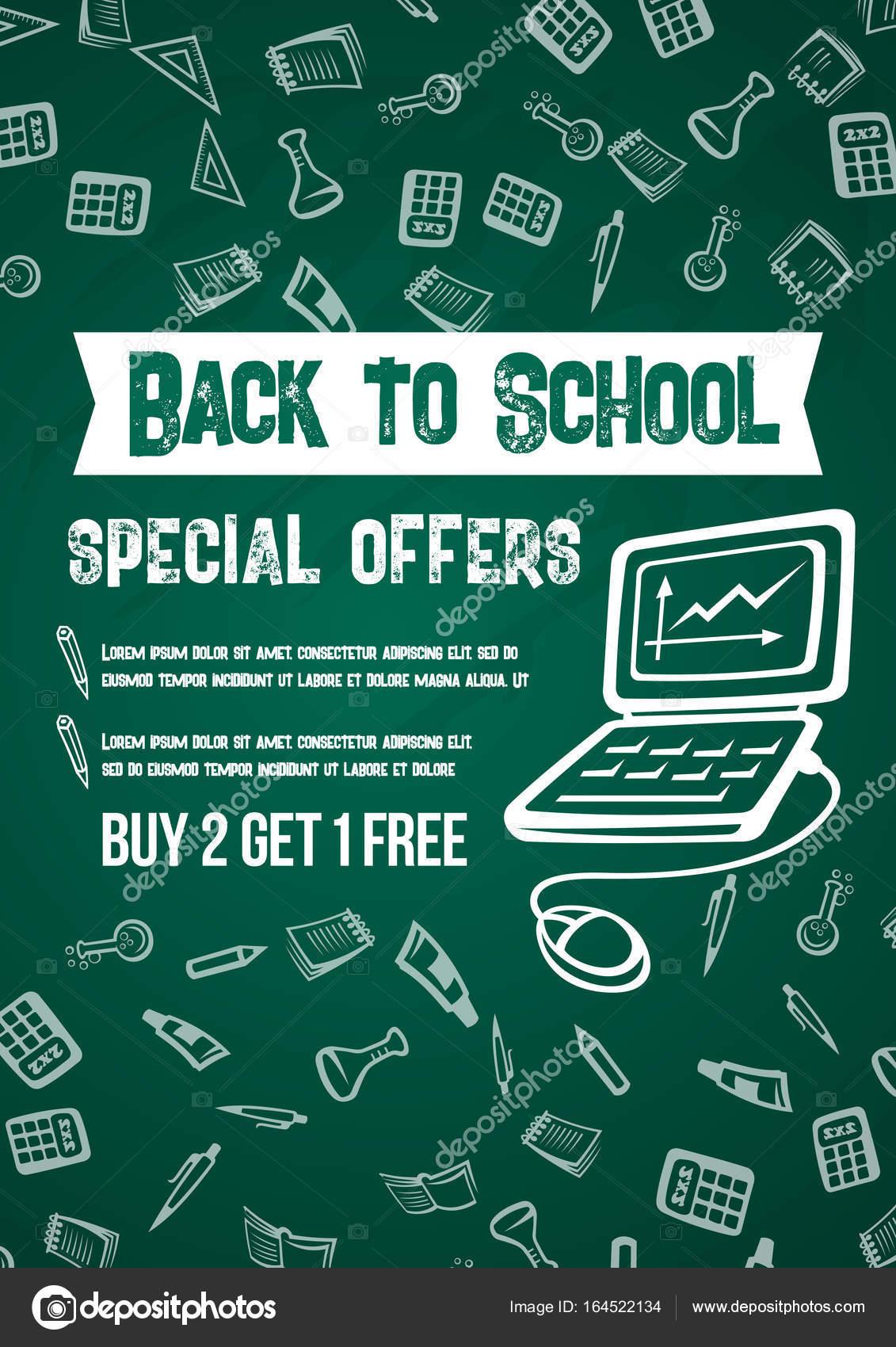 Zpátky do školy vektor prodej nabídka tabuli plakát — Stock Vektor ... 81c015bab6