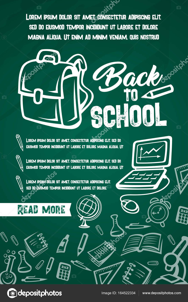 Zurück zur Schule liefert Vektor Lektion Poster — Stockvektor ...