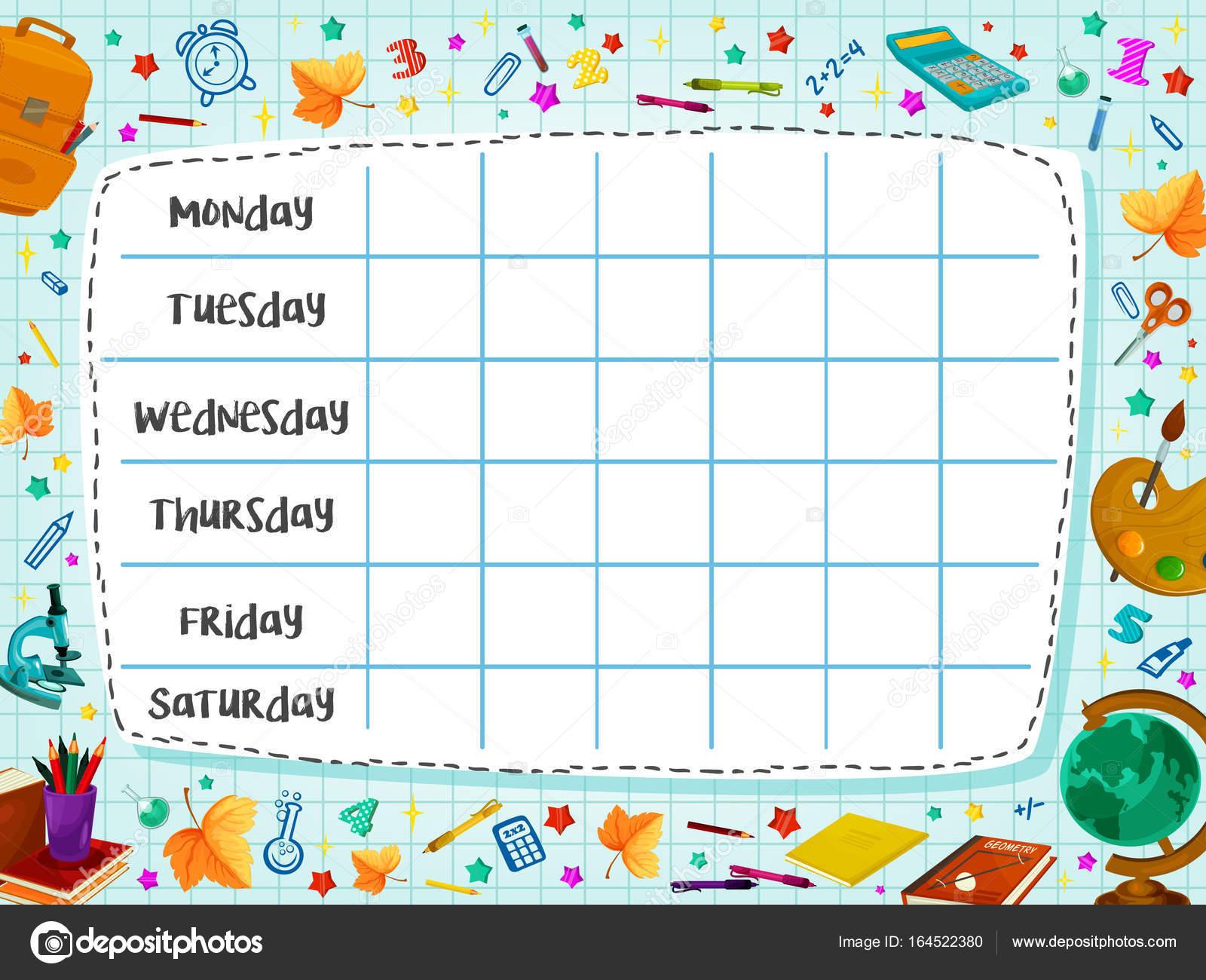 Zurück zu Schule flache Vektor Zeitplan Zeitplan — Stockvektor ...