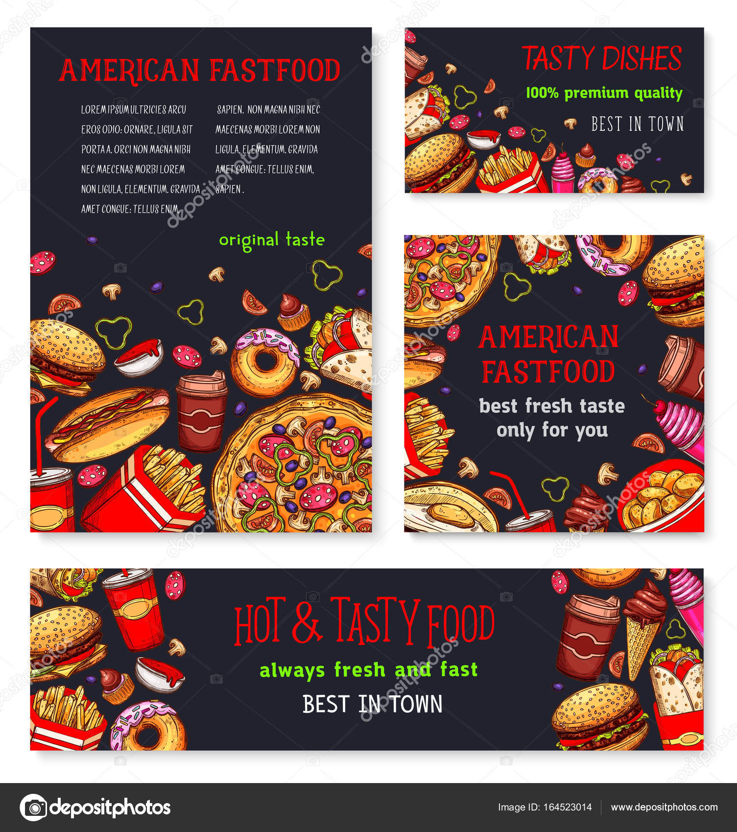 Fast Food Meal For Restaurant Banner Template Stock Vector