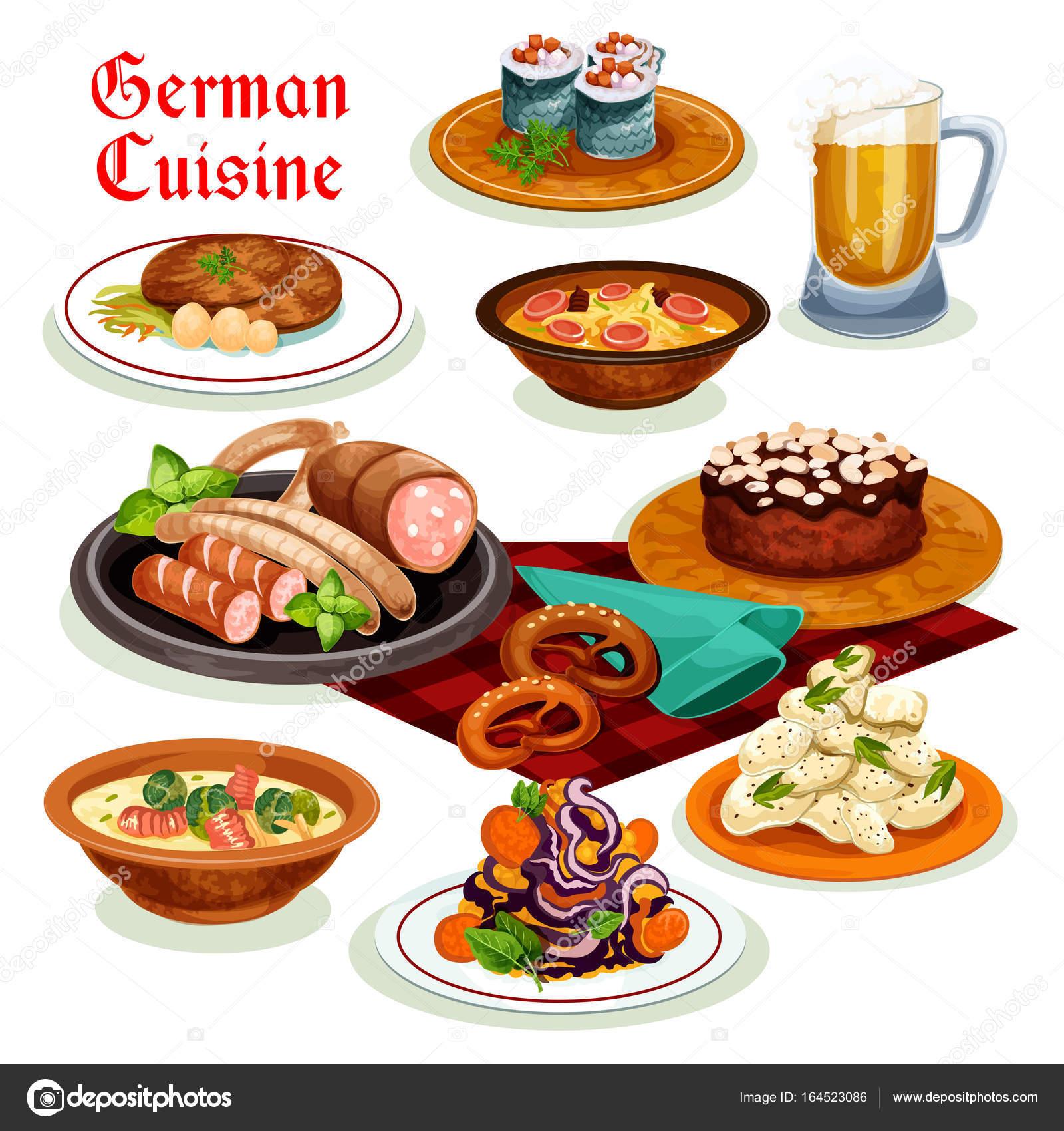 Deutsche Küche-Abendessen mit Bier und Wurst-Symbol — Stockvektor ...