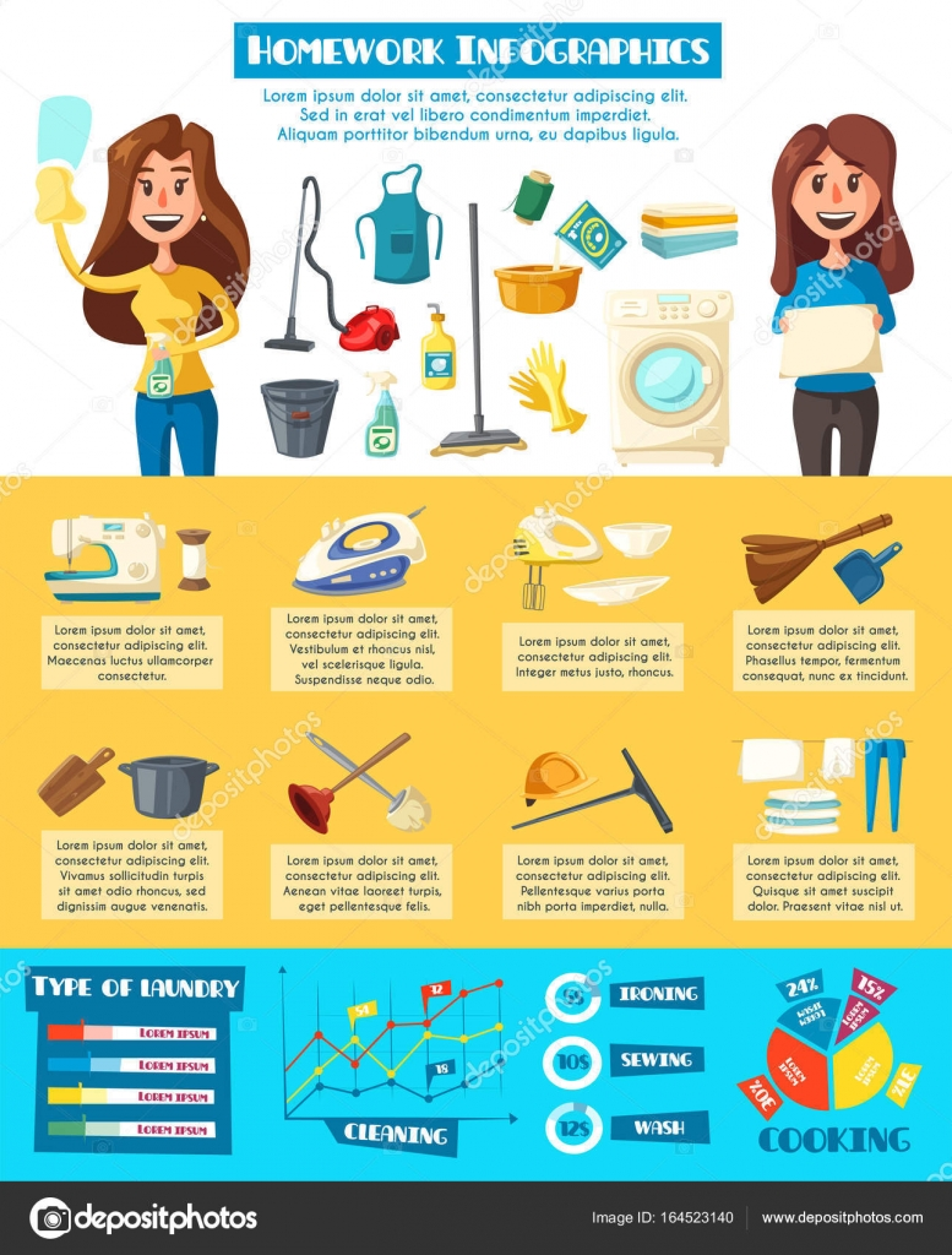 Fotos tareas del hogar plantilla de dise o infogr fico for Planning faccende domestiche