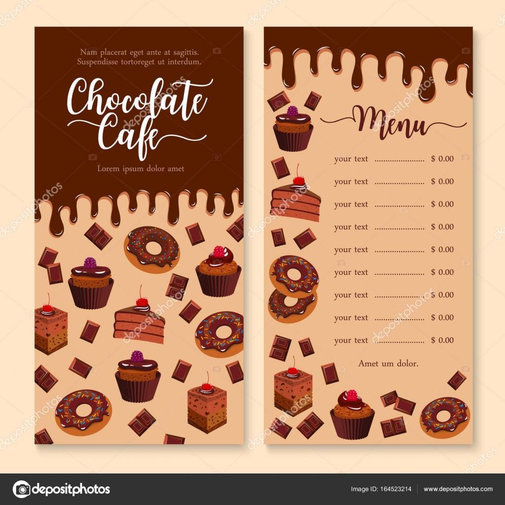 Chocolate pastel y postre menú plantilla diseño — Vector de stock ...