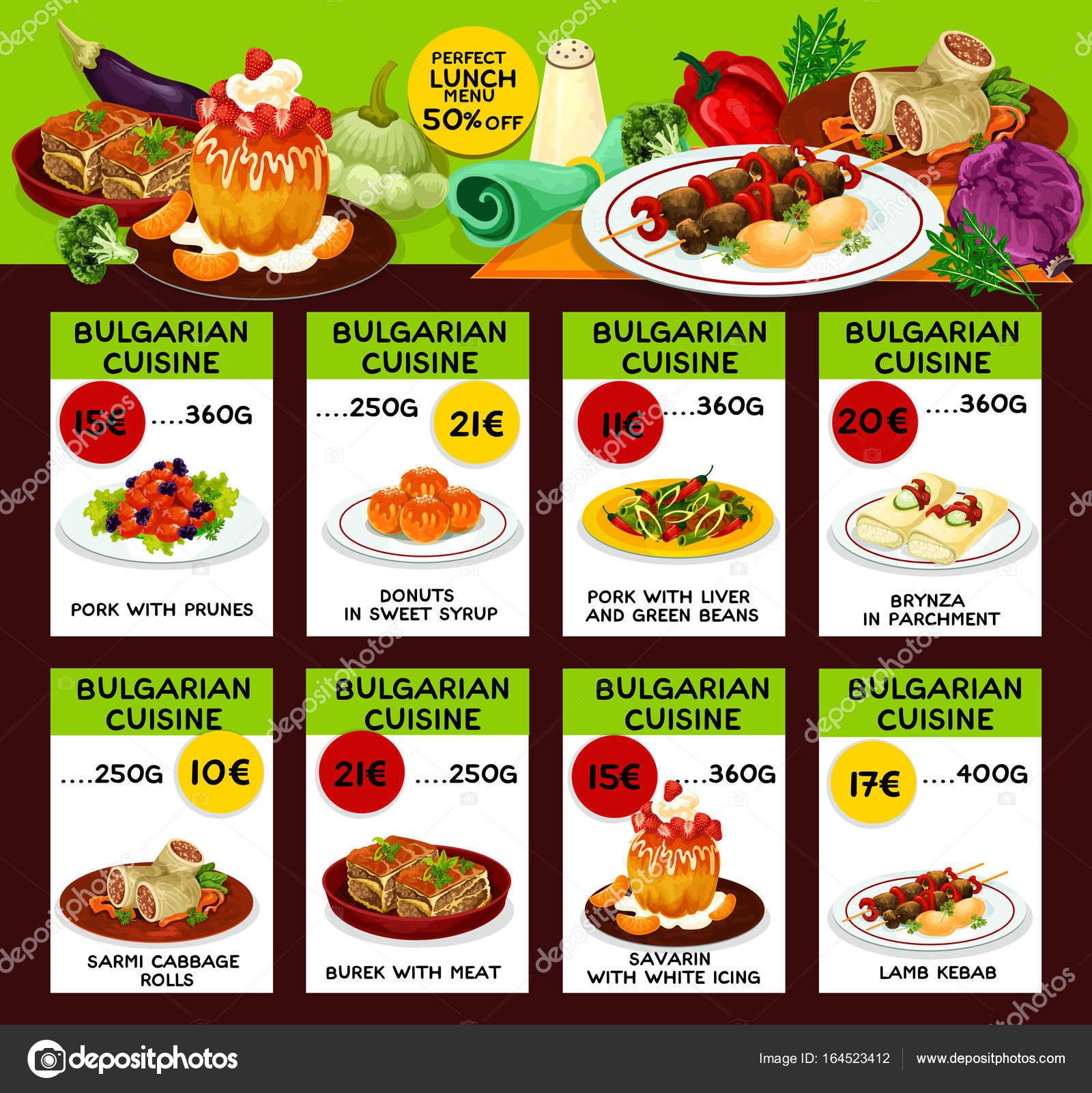 Bulgarische Küche Restaurant Mittagessen Menüvorlage — Stockvektor ...