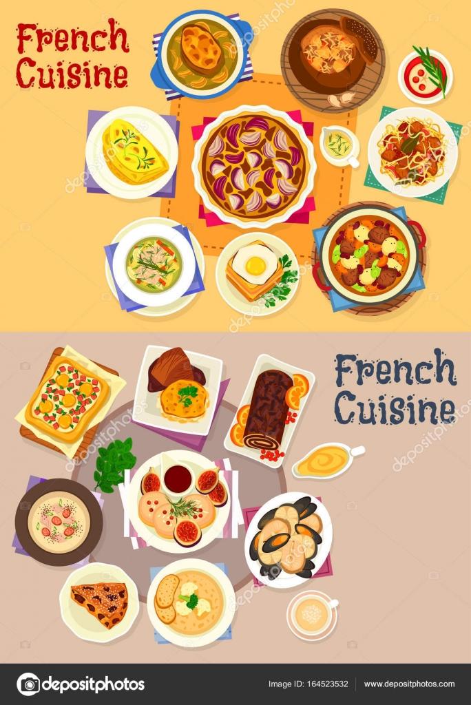 Französische Küche-Gerichte für Mittags-Menü-Icon set — Stockvektor ...