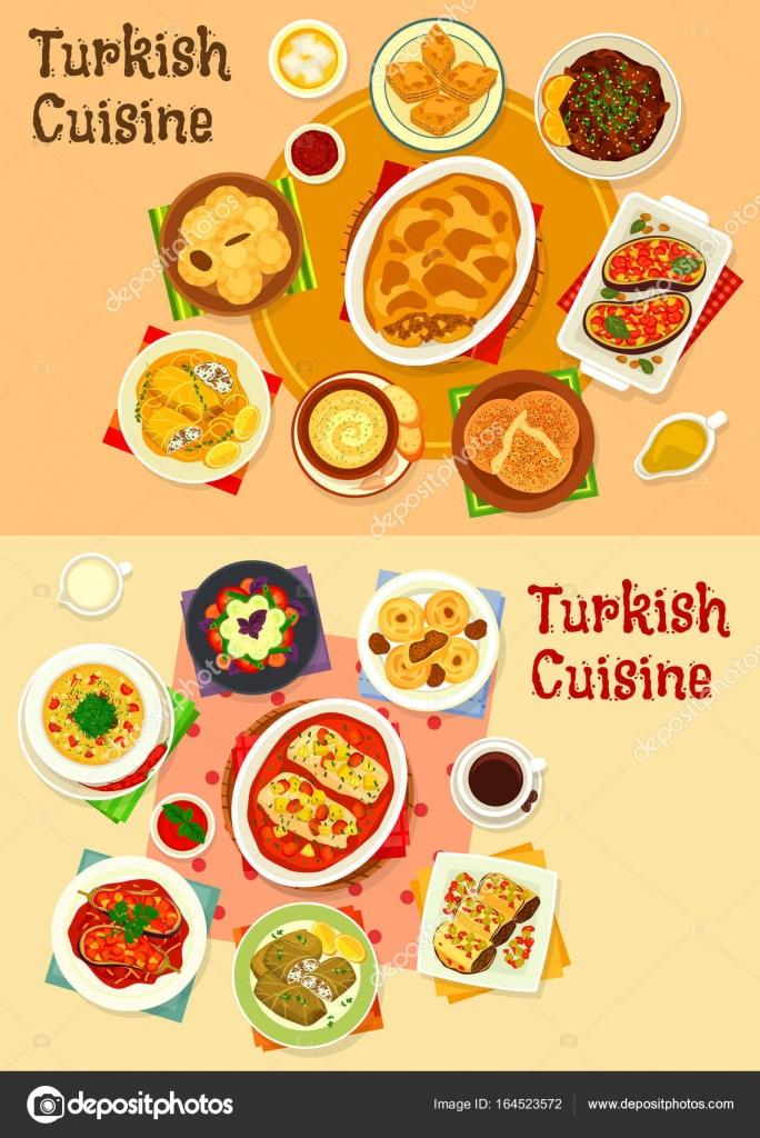 Türkische Küche-Essen mit Genuss-Icon-set — Stockvektor © Seamartini ...