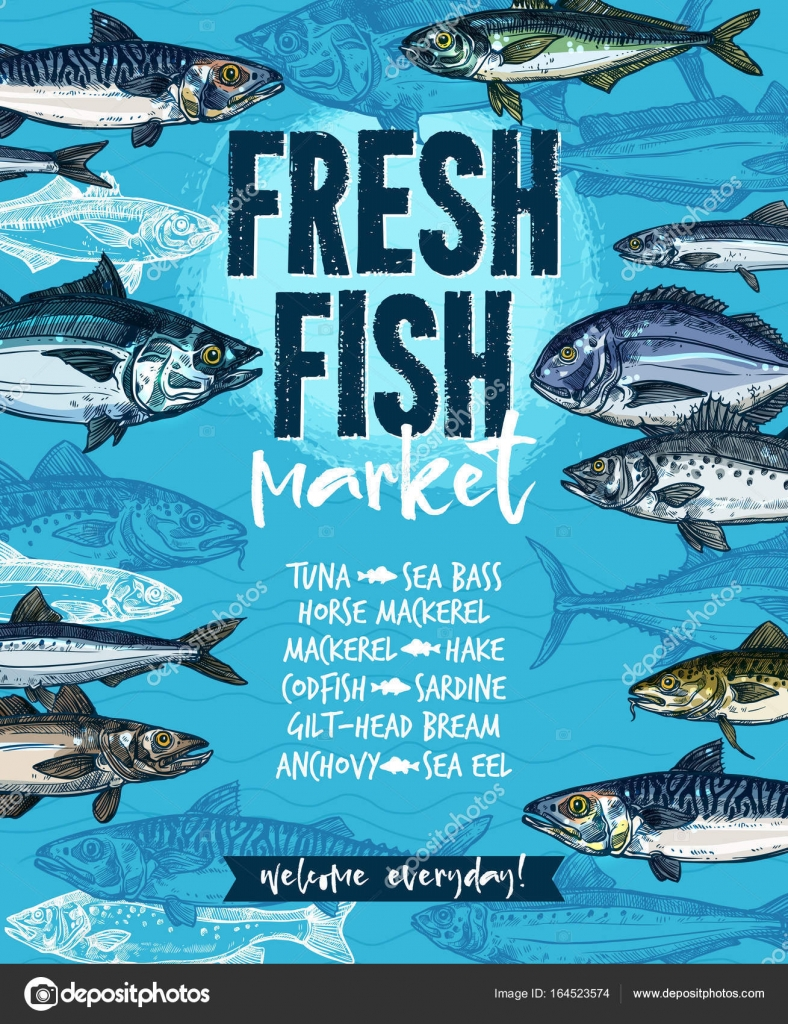 Fresh Fish Banner For Seafood Market Template Stock Vector