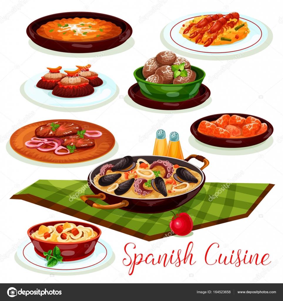 Icono de la cocina española tradicional cena diches — Archivo ...