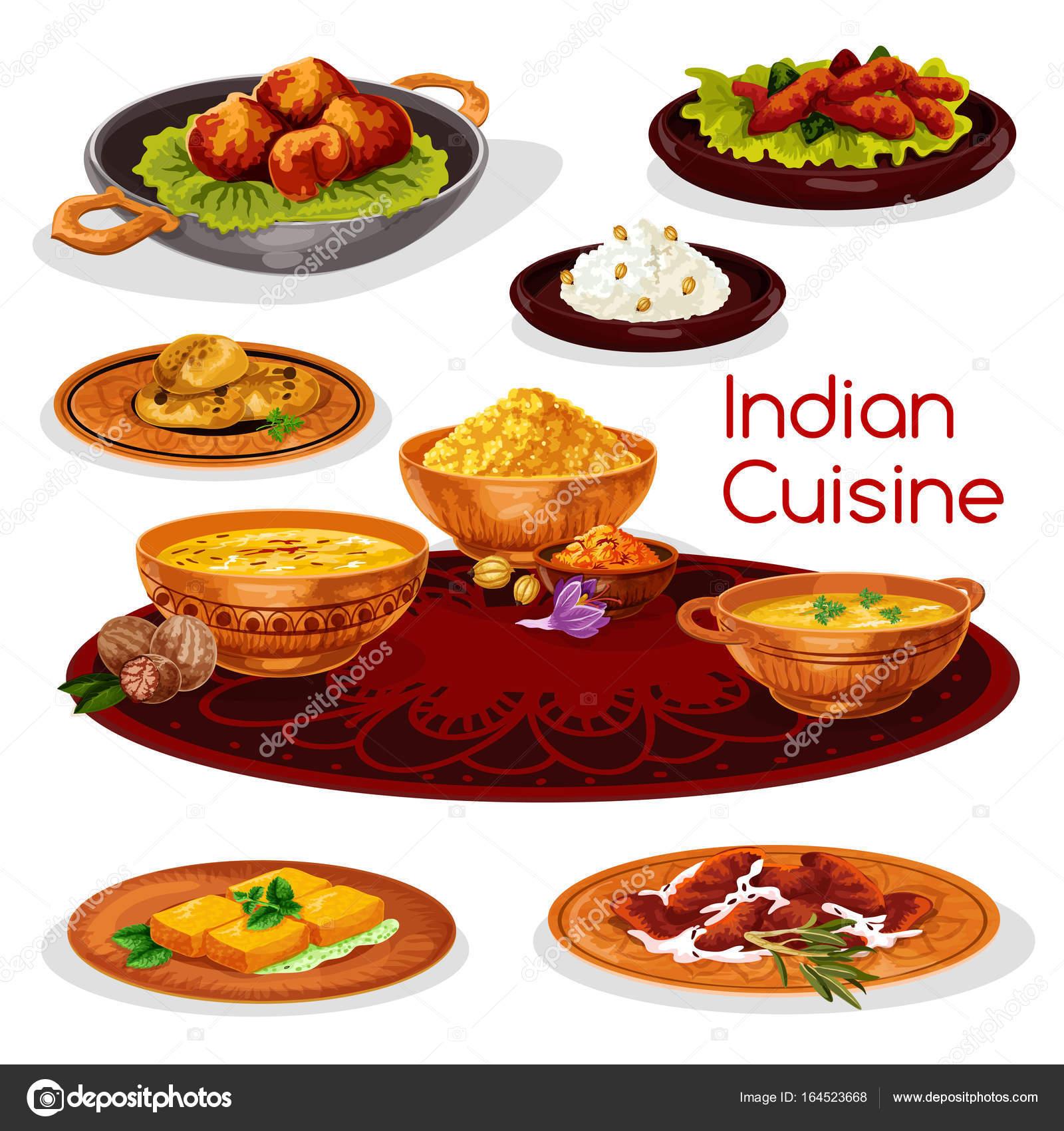 Thali Gerichte der indischen Küche cartoon Icon-design — Stockvektor ...