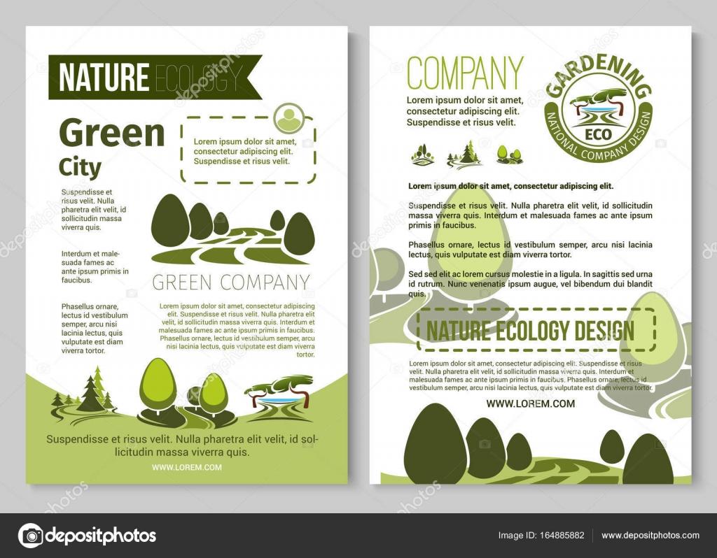 Grüne Stadtumwelt Und Eco Gartenbau Unternehmen Plakat Vorlage. Vektor  Natur Landschaftsdesign Für Parkland Plätzen, Ökologie Waldbäume, Gärten  Oder Wäldern ...