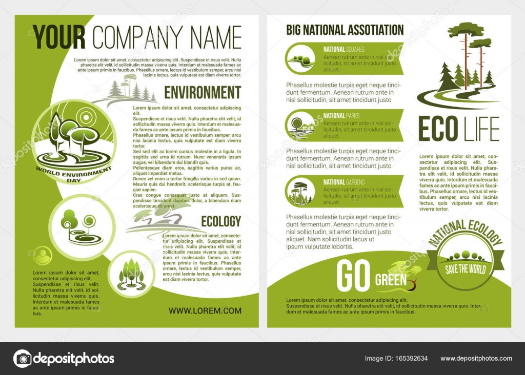ecology and green environment association or company brochure template vector design for eco gardening and nature landscape design of parkland squares