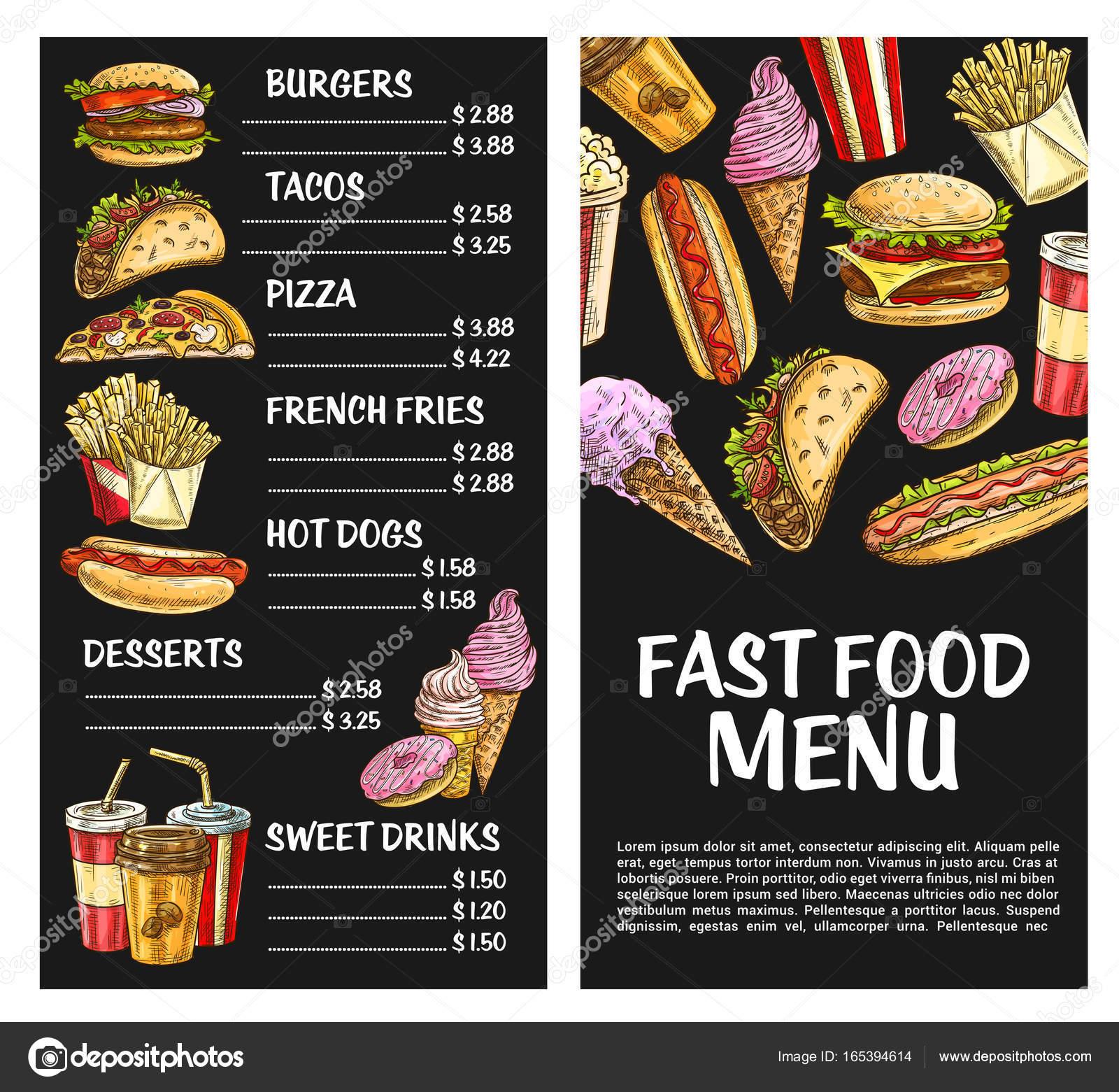 Restaurante de comida rápida de comida rápida vector menu cartel ...