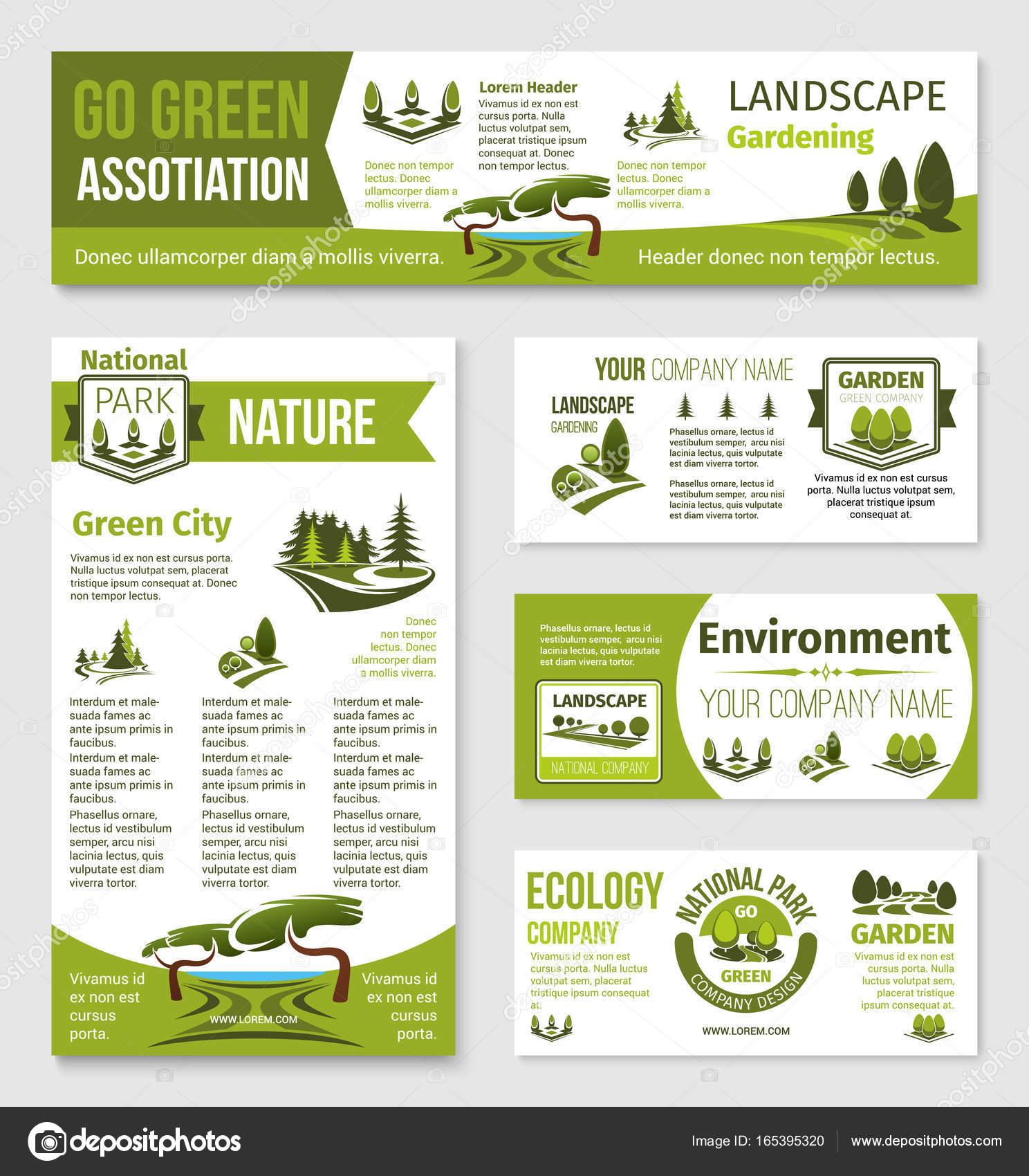 Plantillas vectoriales para eco verde entorno empresa — Archivo ...