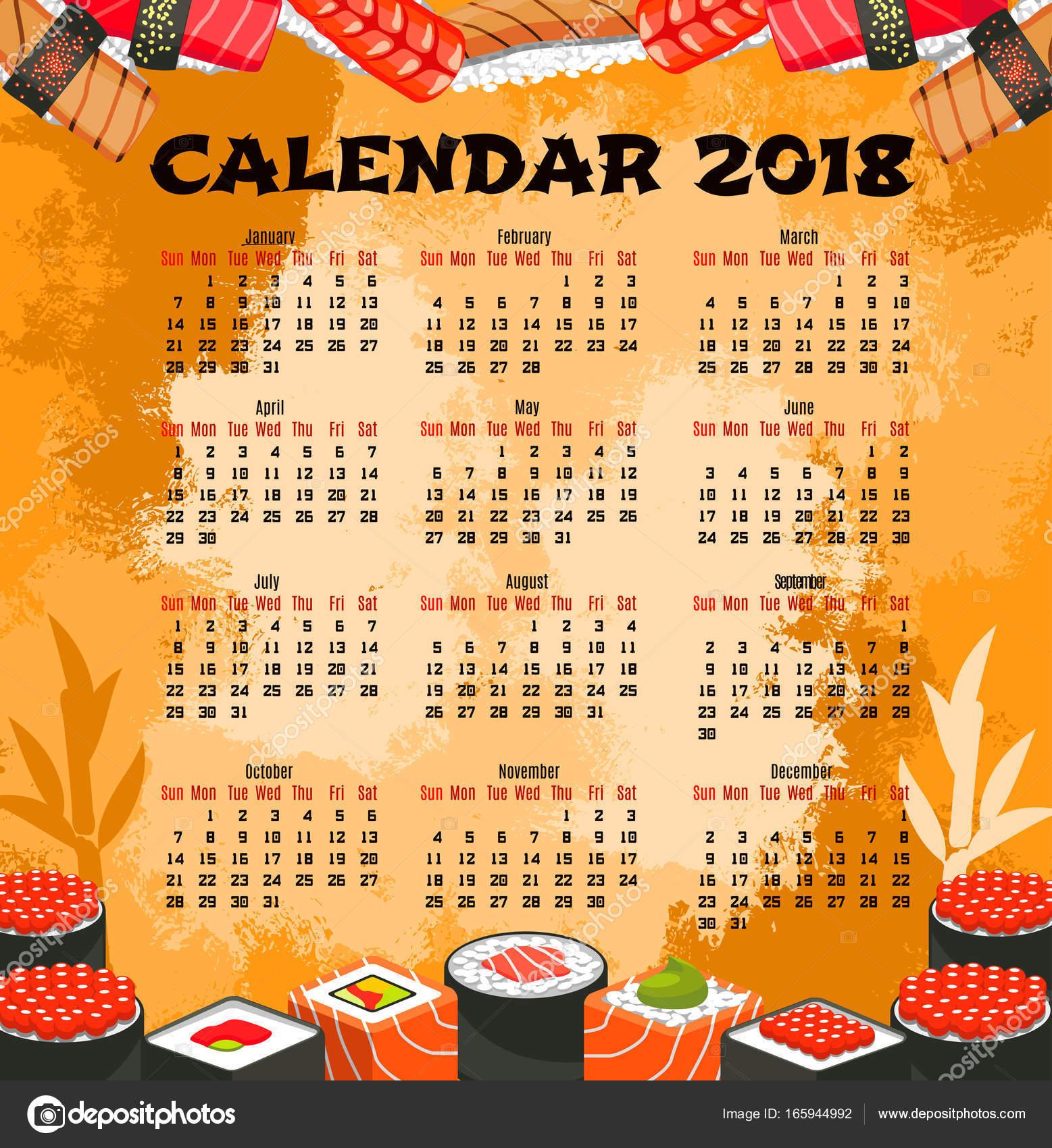 Calendario de sushi comida japonesa — Archivo Imágenes Vectoriales ...