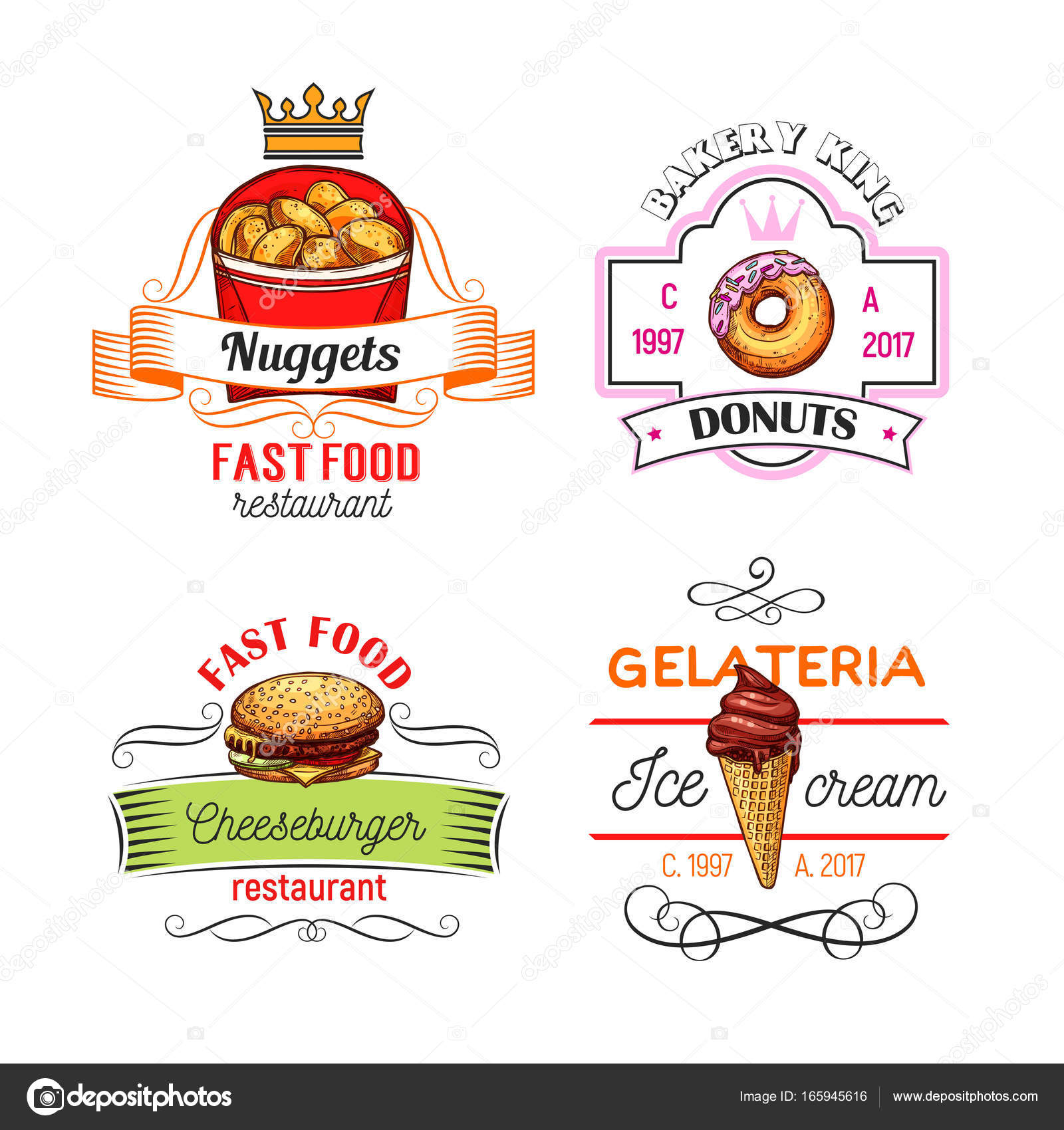 Fast Food Symbols With Burger Donut And Ice Cream Stock Vector