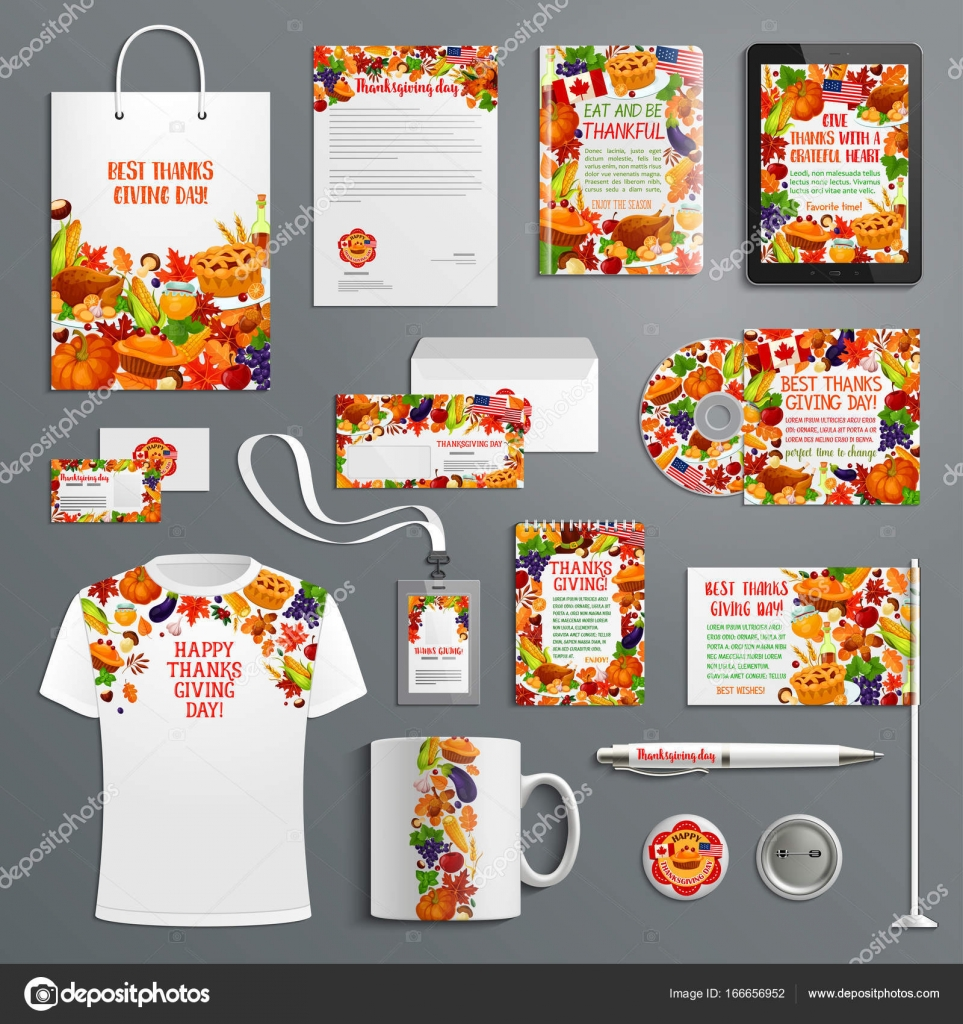 Corporate Identity-Vorlage, Thanksgiving-design — Stockvektor ...