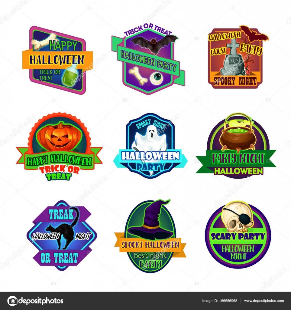 Halloween Urlaub Party Trick behandeln Vektor-icons — Stockvektor ...