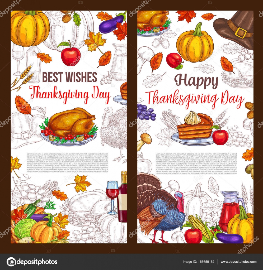 Thanksgiving greeting message stock vector printed invitations fast thanksgiving day sketch vector greeting posters stock vector depositphotos 166659162 stock illustration thanksgiving day sketch kristyandbryce Images