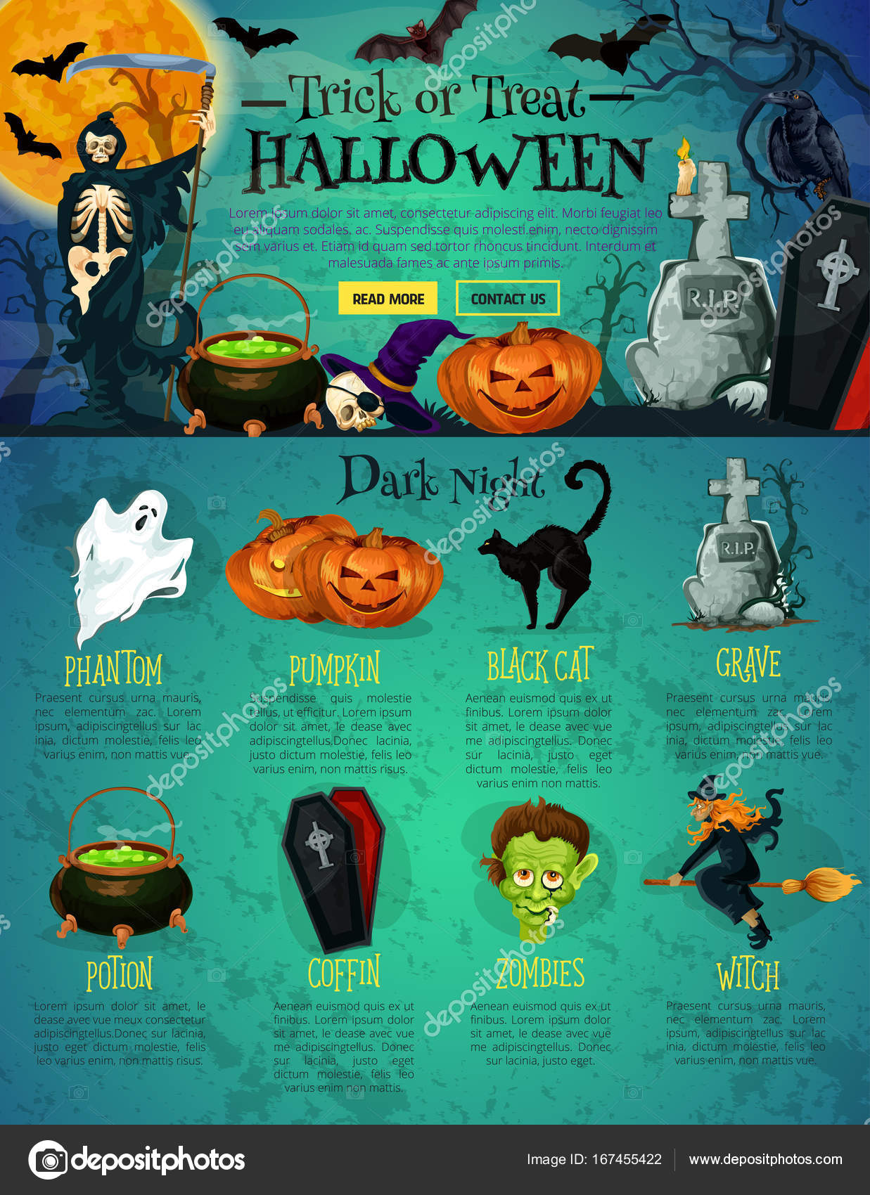 halloween landing page template for website design stock vector