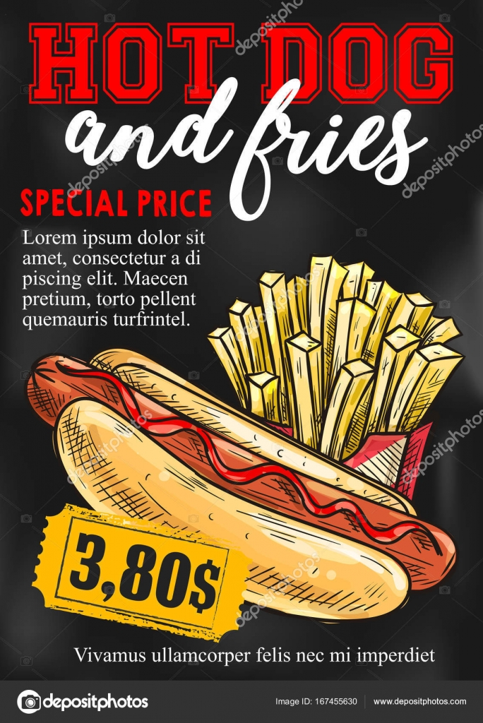 carte de prix fast food hot dog frites fran ais vector image vectorielle seamartini 167455630. Black Bedroom Furniture Sets. Home Design Ideas