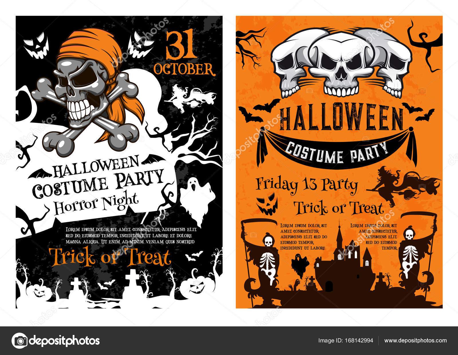 Pompoen Halloween Sjabloon.Halloween Pompoen Schedel Skelet Poster Sjabloon