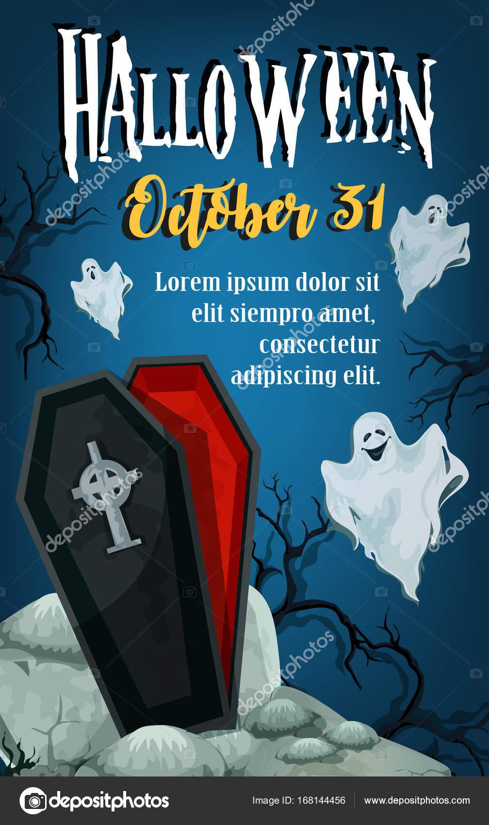 Halloween Urlaub Trick behandeln Horror Party Plakat — Stockvektor ...