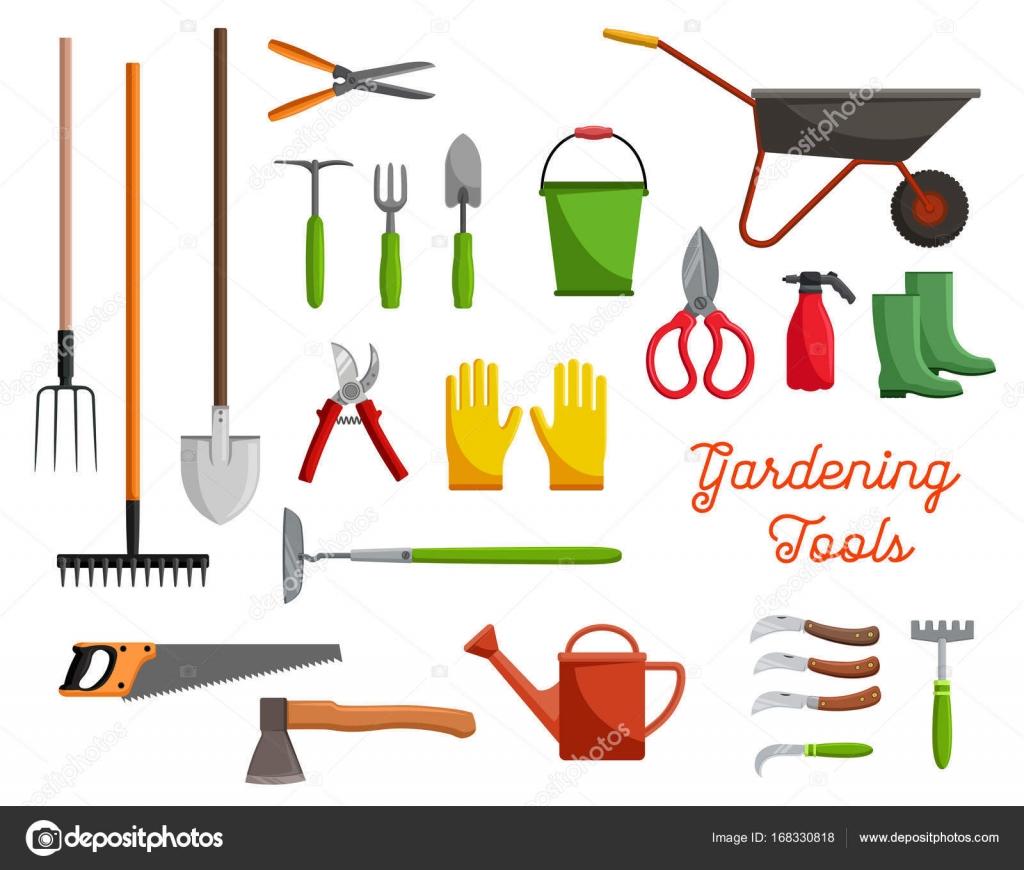Vector icons of farm gardening tools stock vector for Gardening tools vector