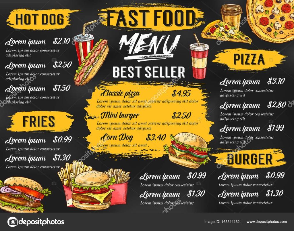 Plantilla de esbozo de menú de comida rápida restaurante vector ...