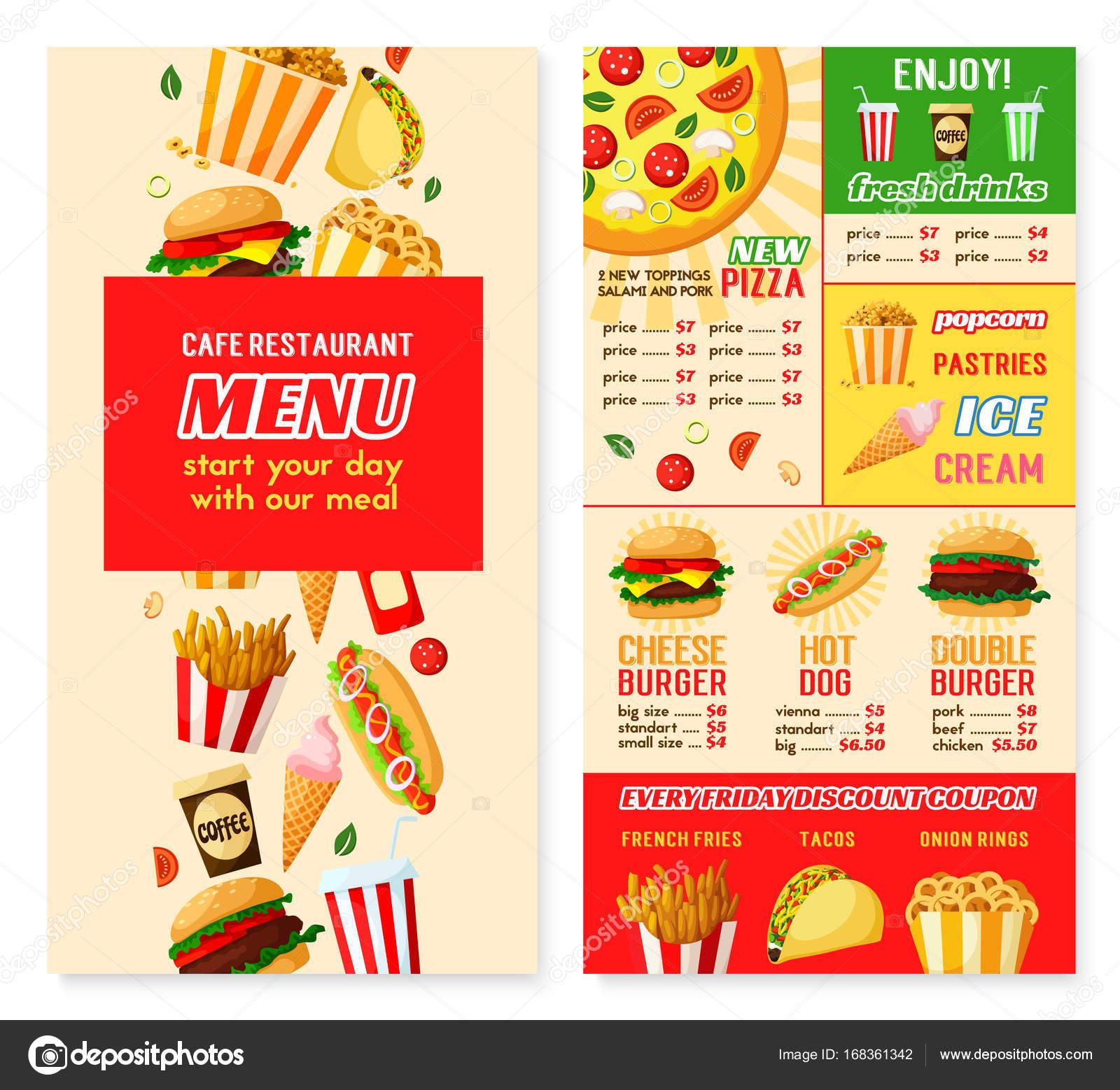vector fast food restaurant menu template stock vector
