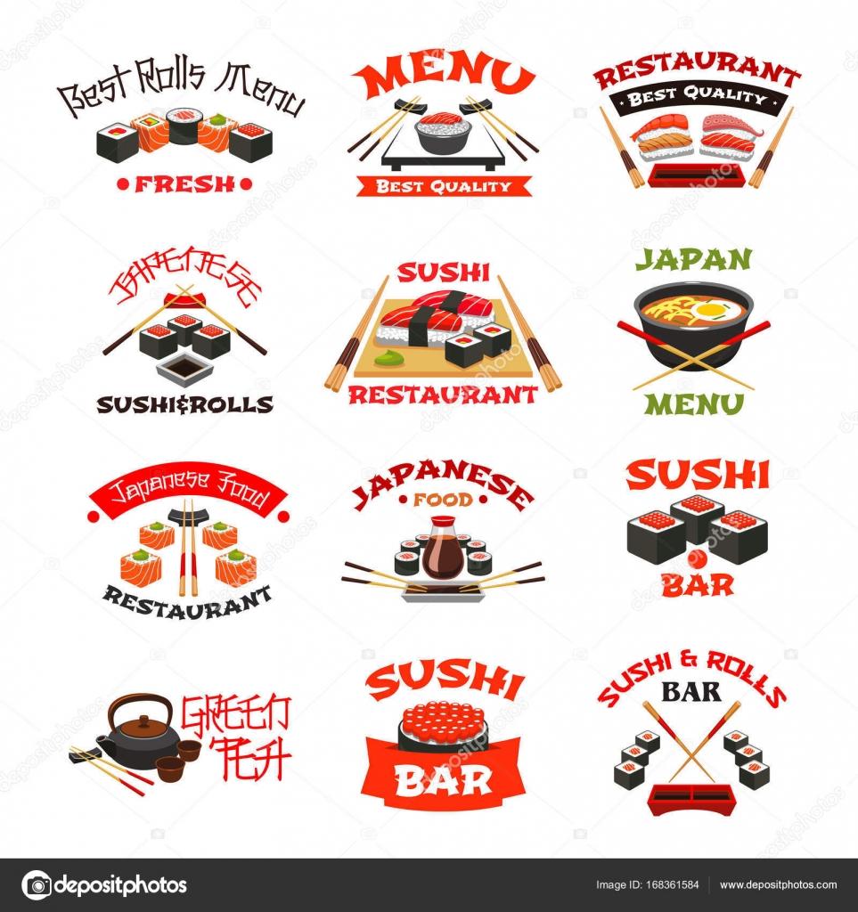 Vektor-Icons für japanisches Sushi Essen — Stockvektor © Seamartini ...