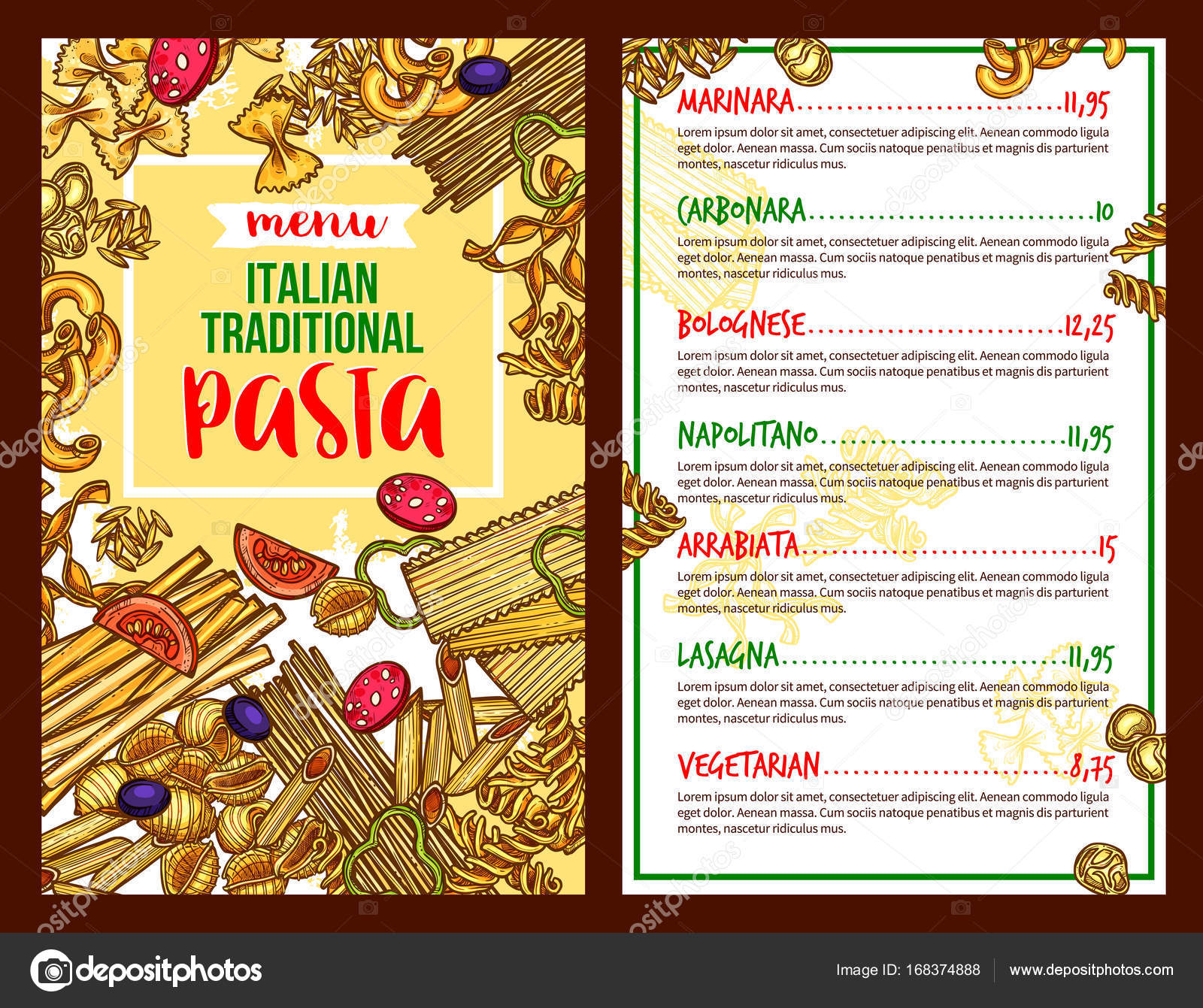Pasta Italienisches Restaurant Vektor Menüvorlage — Stockvektor ...