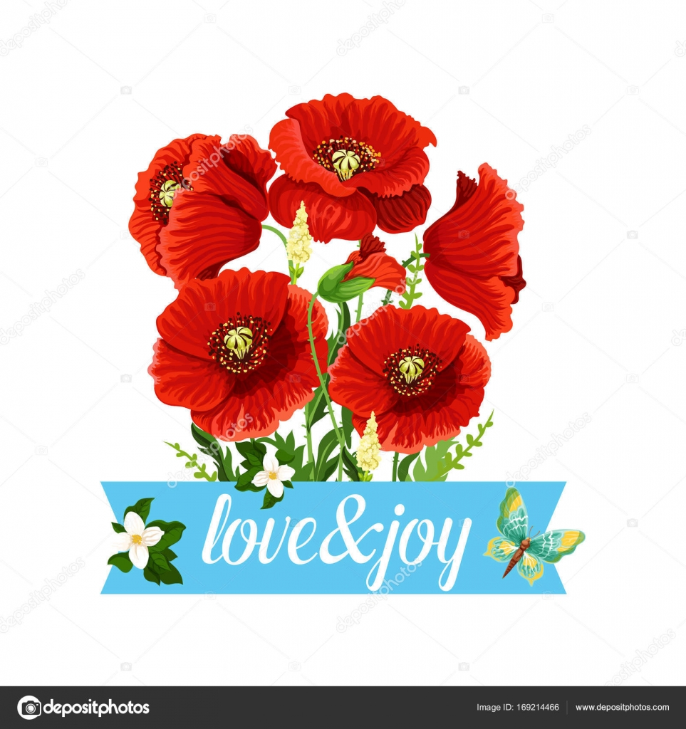Poppy Flowers Bouquet Vector Spring Floral Icon Stock Vector