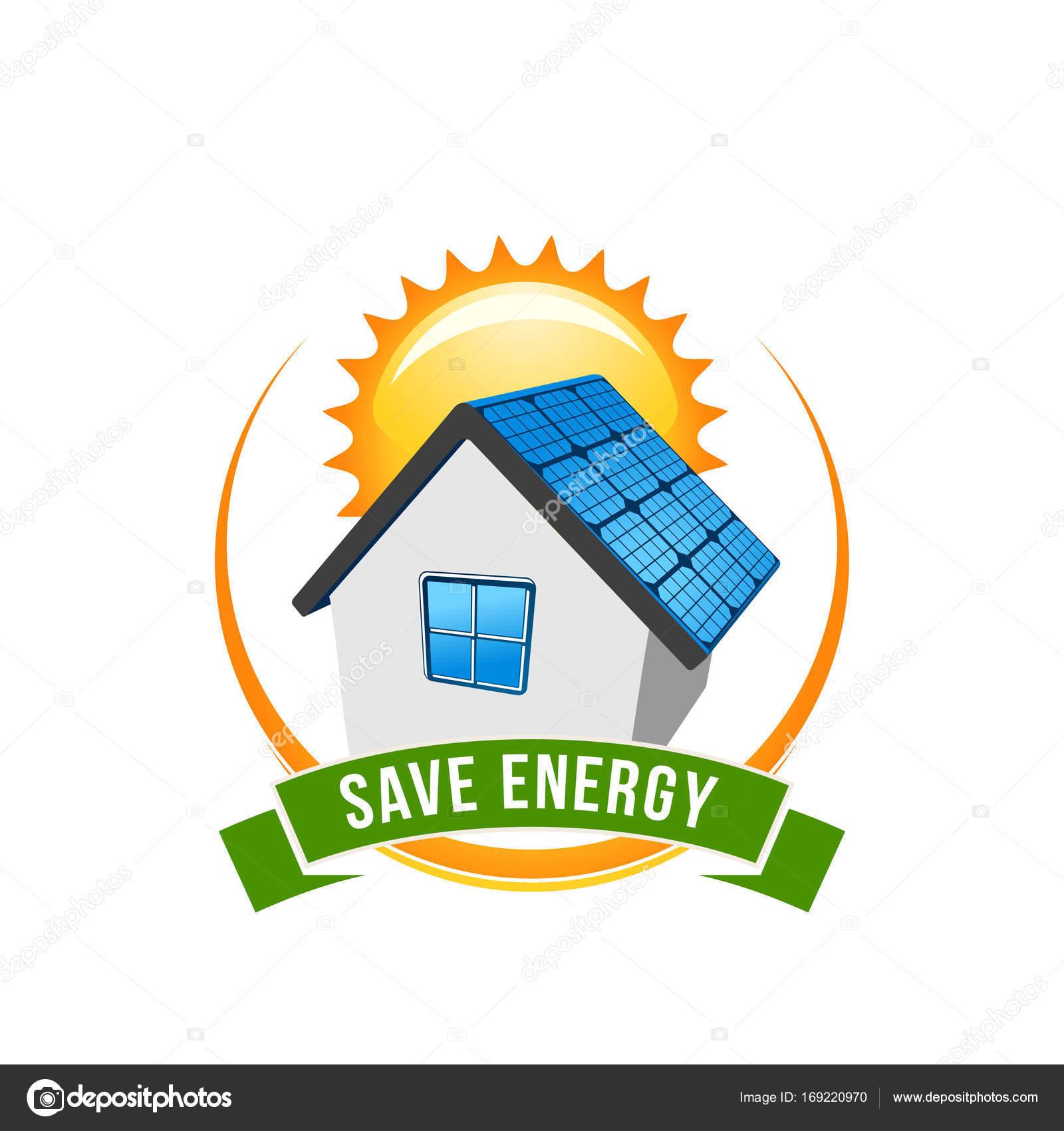 Économie d'énergie verte icône vecteur maison solaire — image