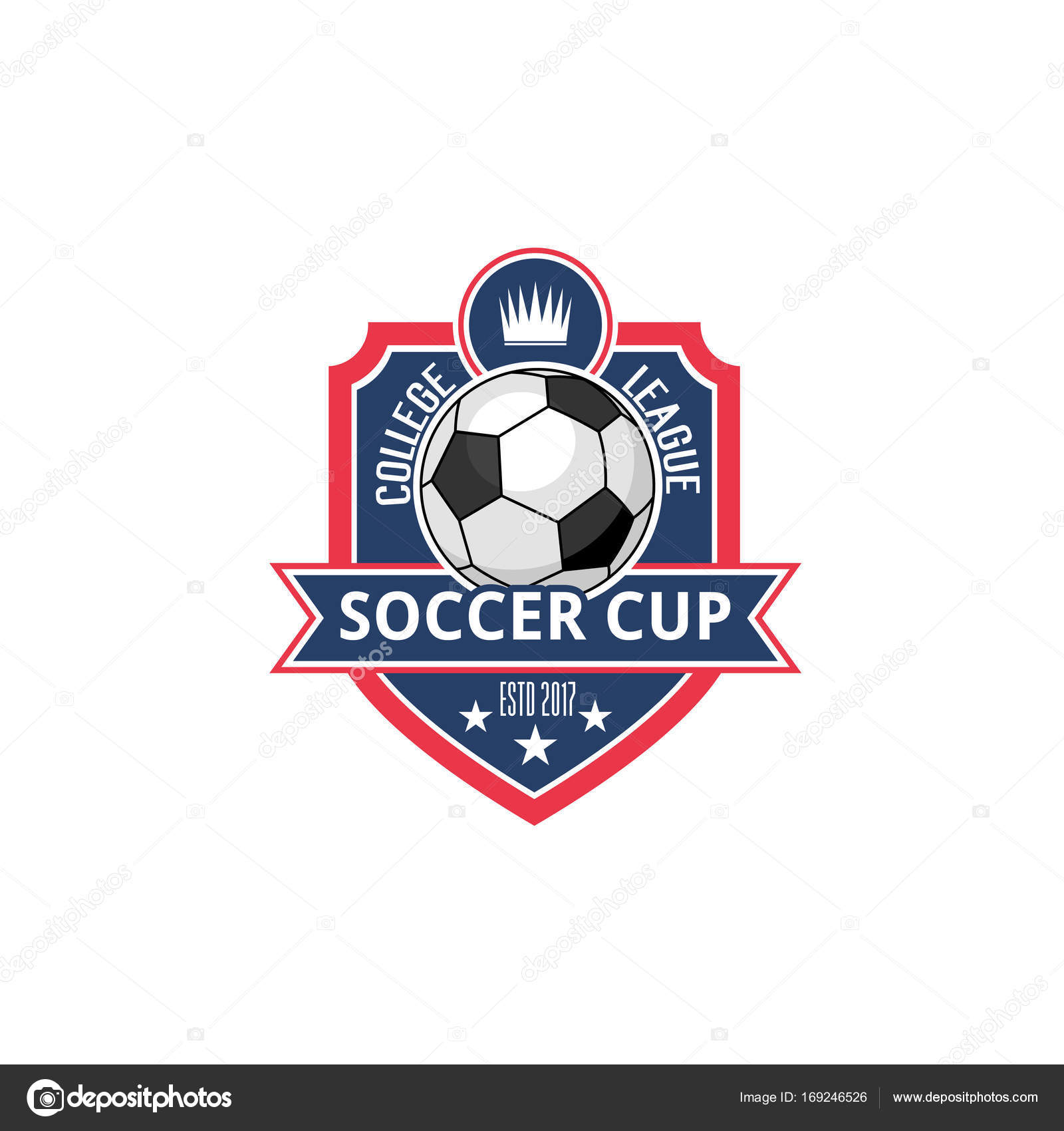 Soccer college football cup ball badge vector icon stock vector soccer cup or college league fan club icon or badge of football ball victory stars and crown vector isolated heraldic shield symbol for soccer sport buycottarizona