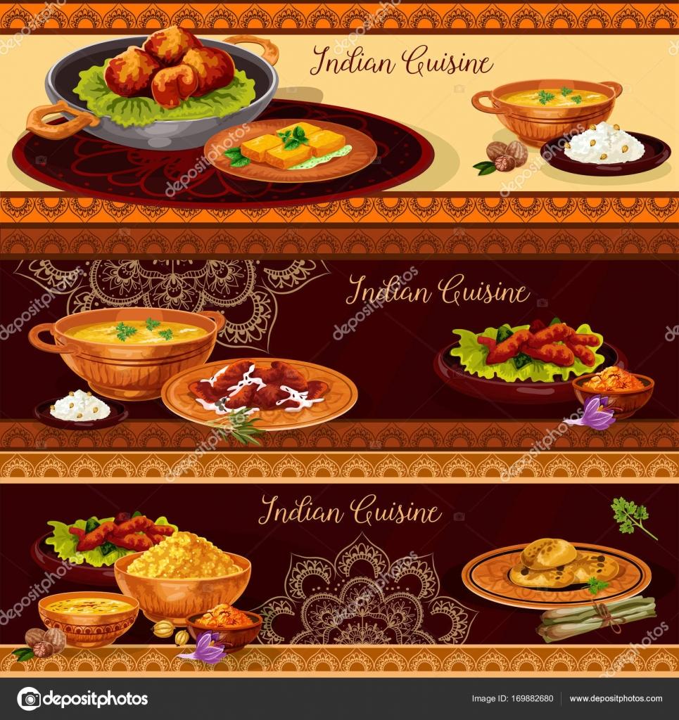Bandera de restaurante de cocina India thali diseño — Vector de ...