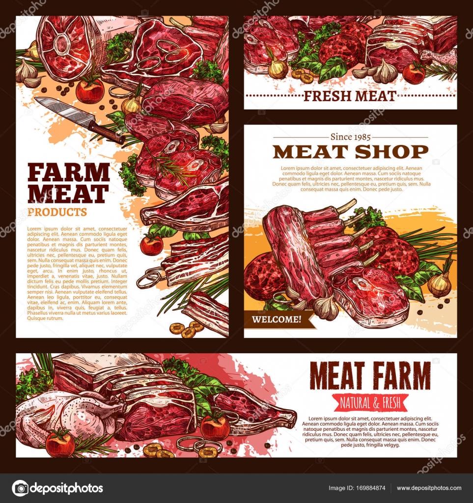 Conjunto de plantillas de carne fresca dibujo corte banner — Vector ...