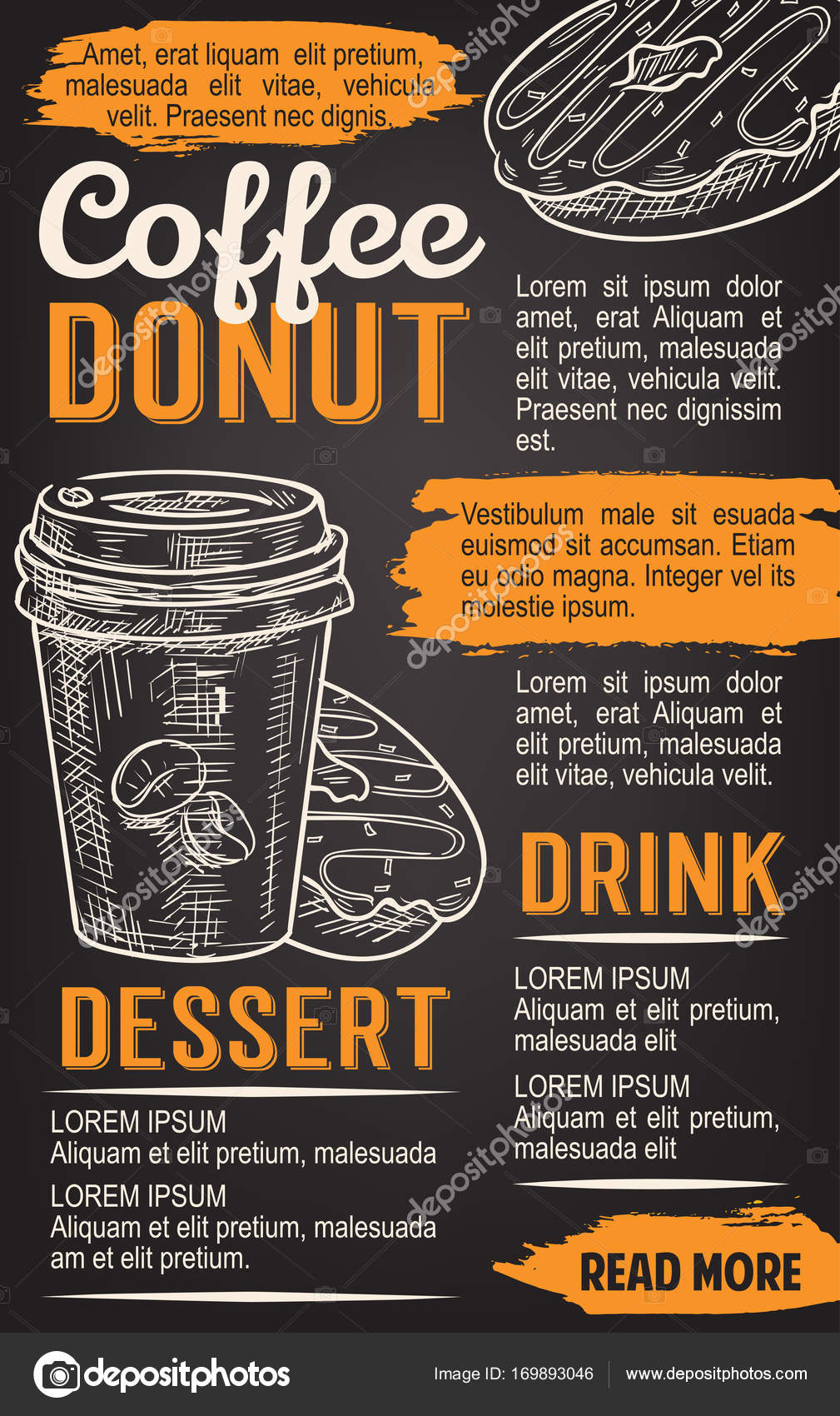 donut and coffee chalkboard poster template stock vector
