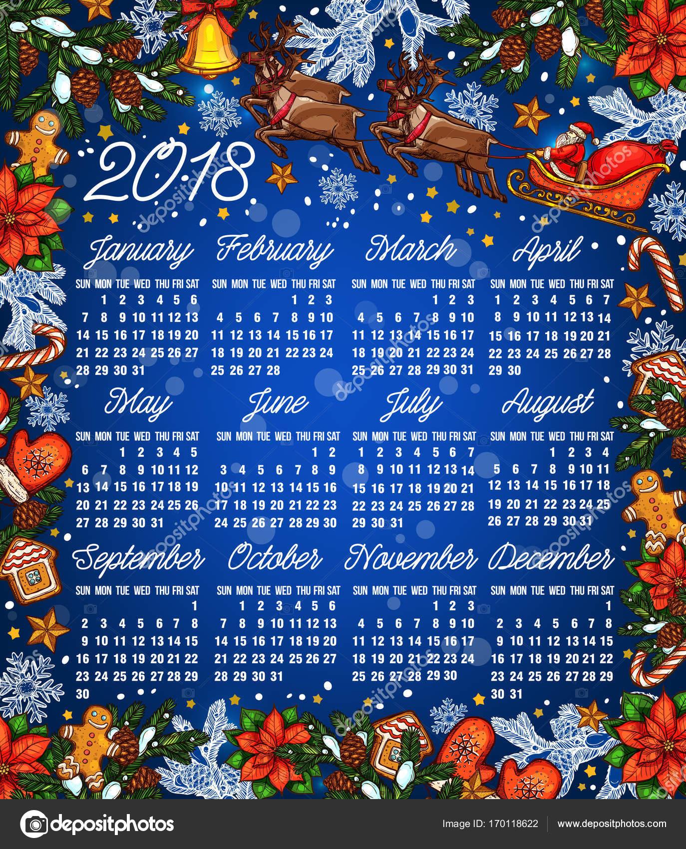 Navidad año 2018 calendario plantilla — Vector de stock © Seamartini ...