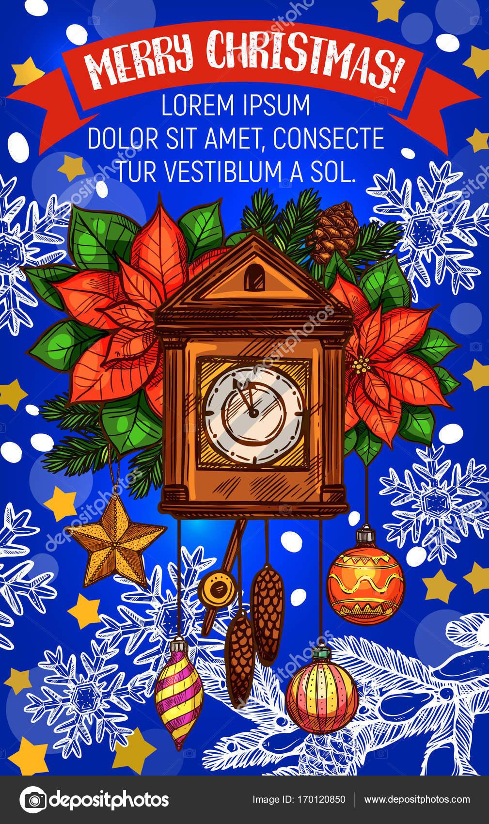 Weihnachtsstern Für Tannenbaum.Tannenbaum Und Weihnachtsstern Grußkarte Design Stockvektor