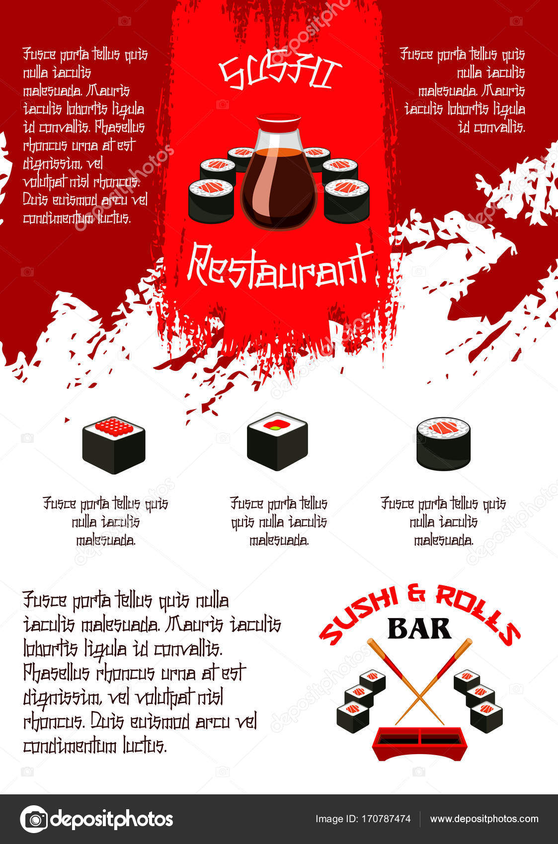 Vektor-Menü für japanische Sushi-Food-Bar-restaurant — Stockvektor ...