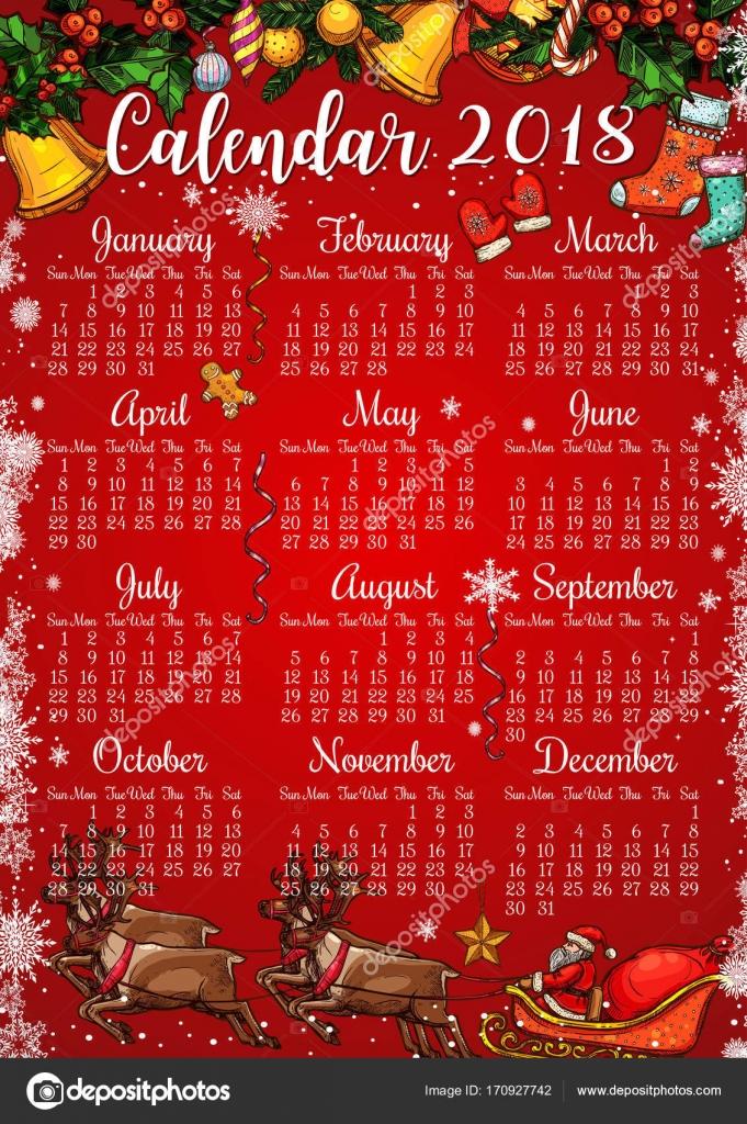 Plantilla de calendario de fiestas Navidad y año nuevo — Vector de ...