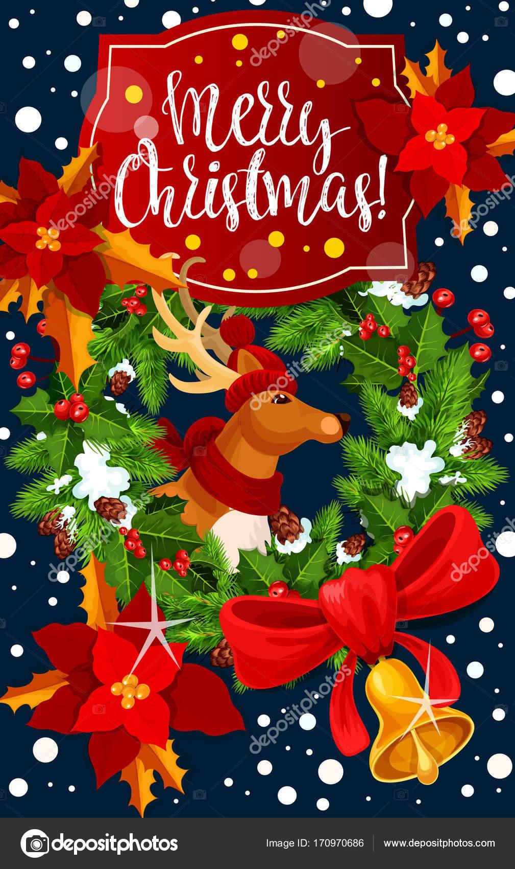 Weihnachten Dekoration Kranz Vektor Grußkarte — Stockvektor ...