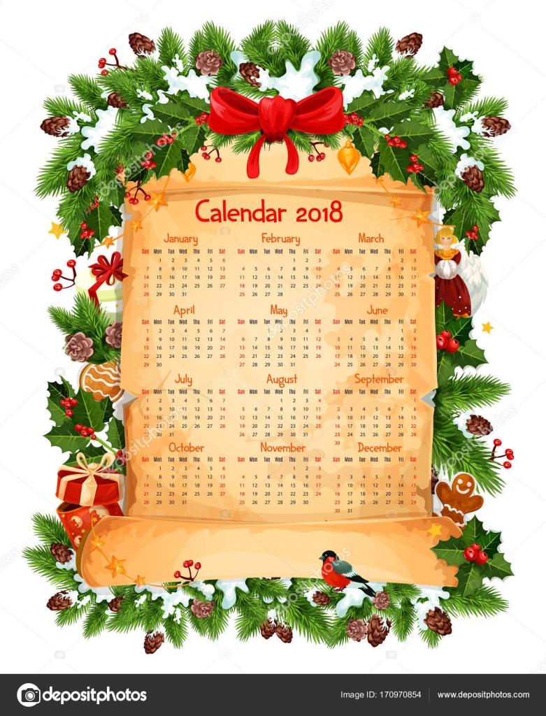 Plantilla de vector de decoración de Navidad 2018 calendario ...