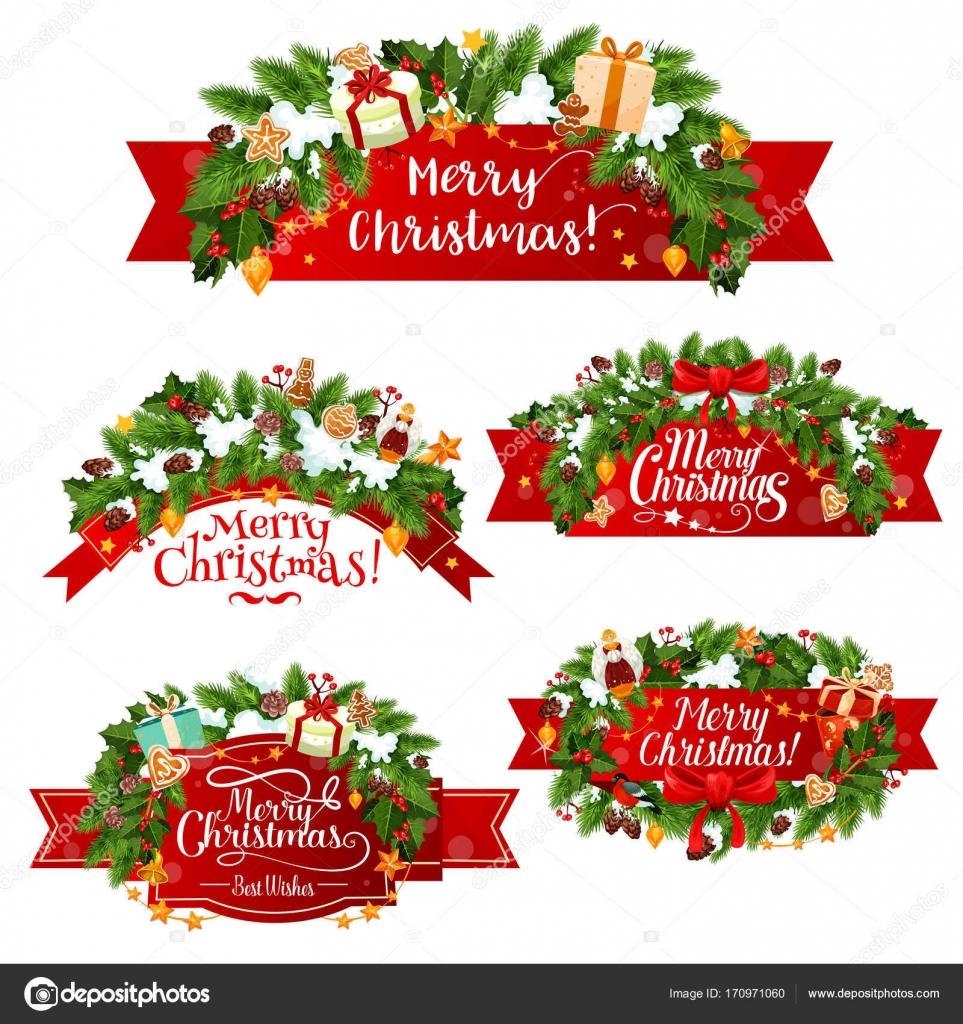 Vector de Navidad saludo cinta decoracin iconos Archivo Imgenes
