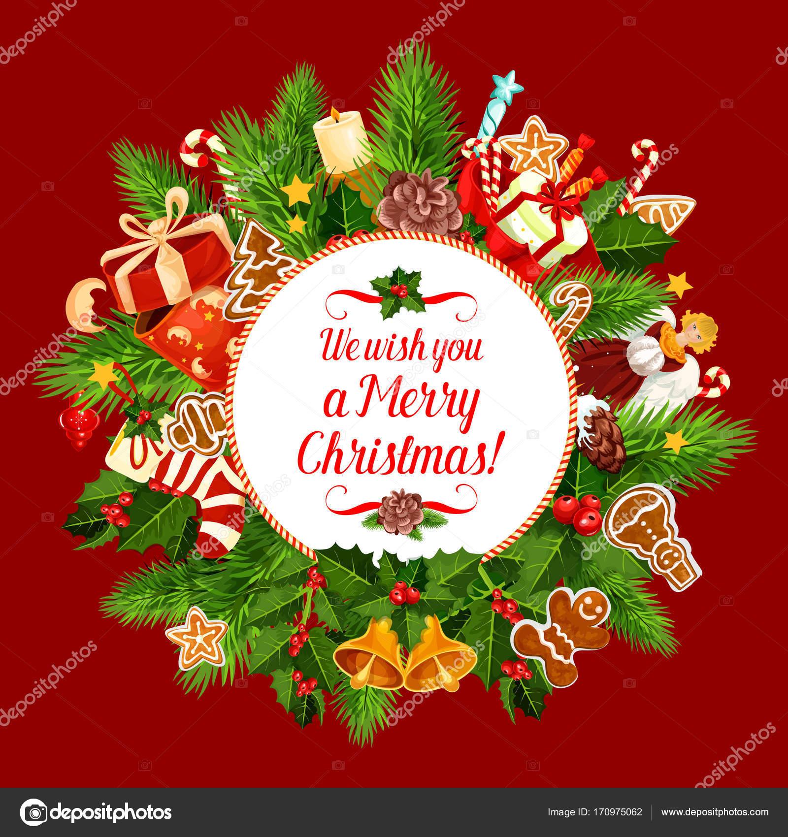 Frohe Weihnachten Wunsch.Frohe Weihnachten Urlaub Wunsch Vektor Grusskarte