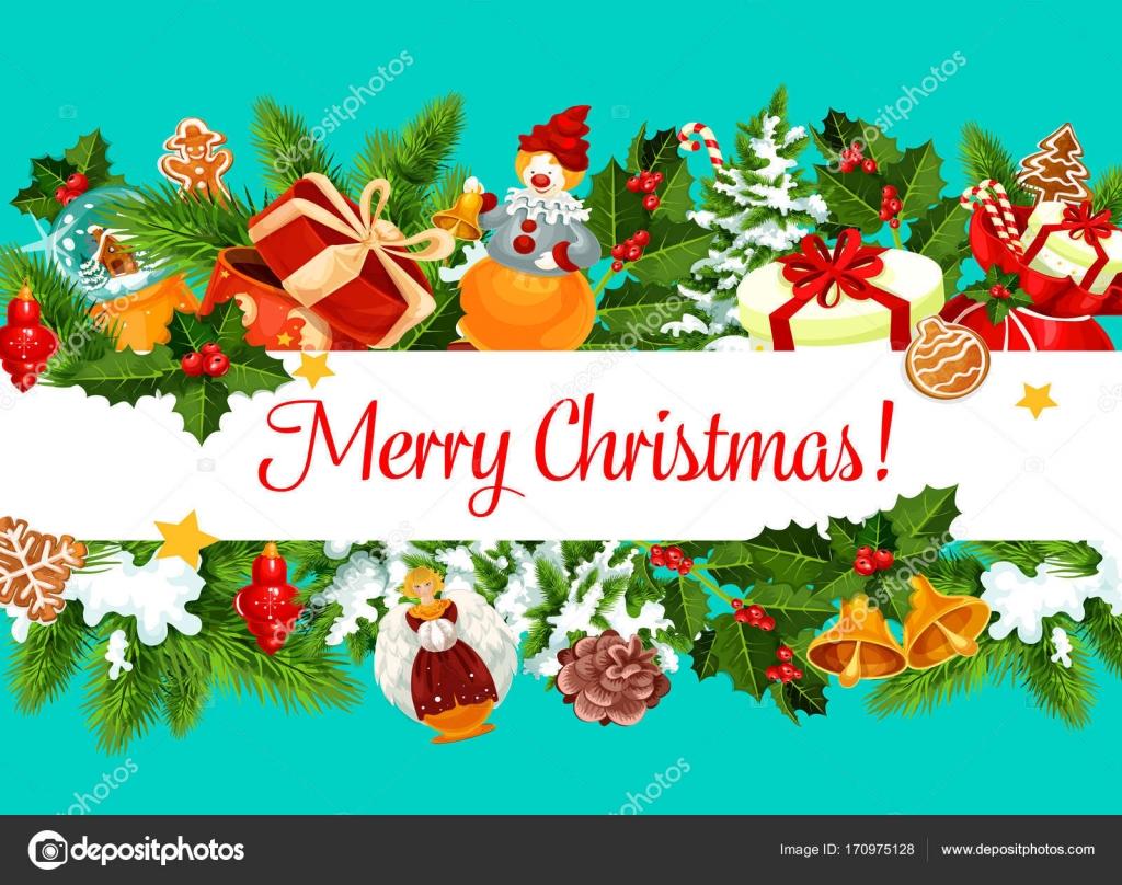 Feliz Navidad vector regalos tarjeta de felicitación — Vector de ...