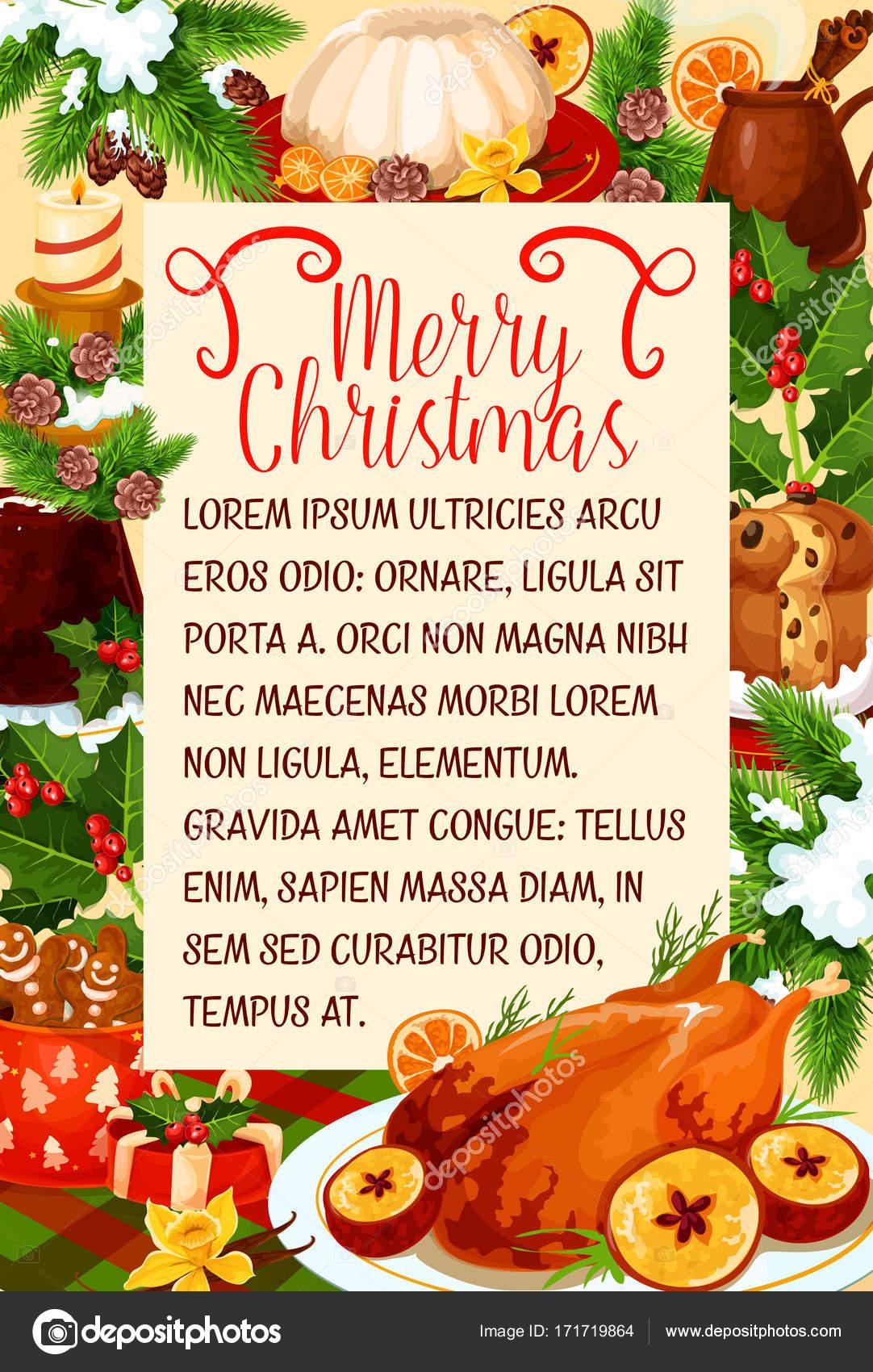 Feliz Cartel Cena Del Cocina Navidad Vector Archivo